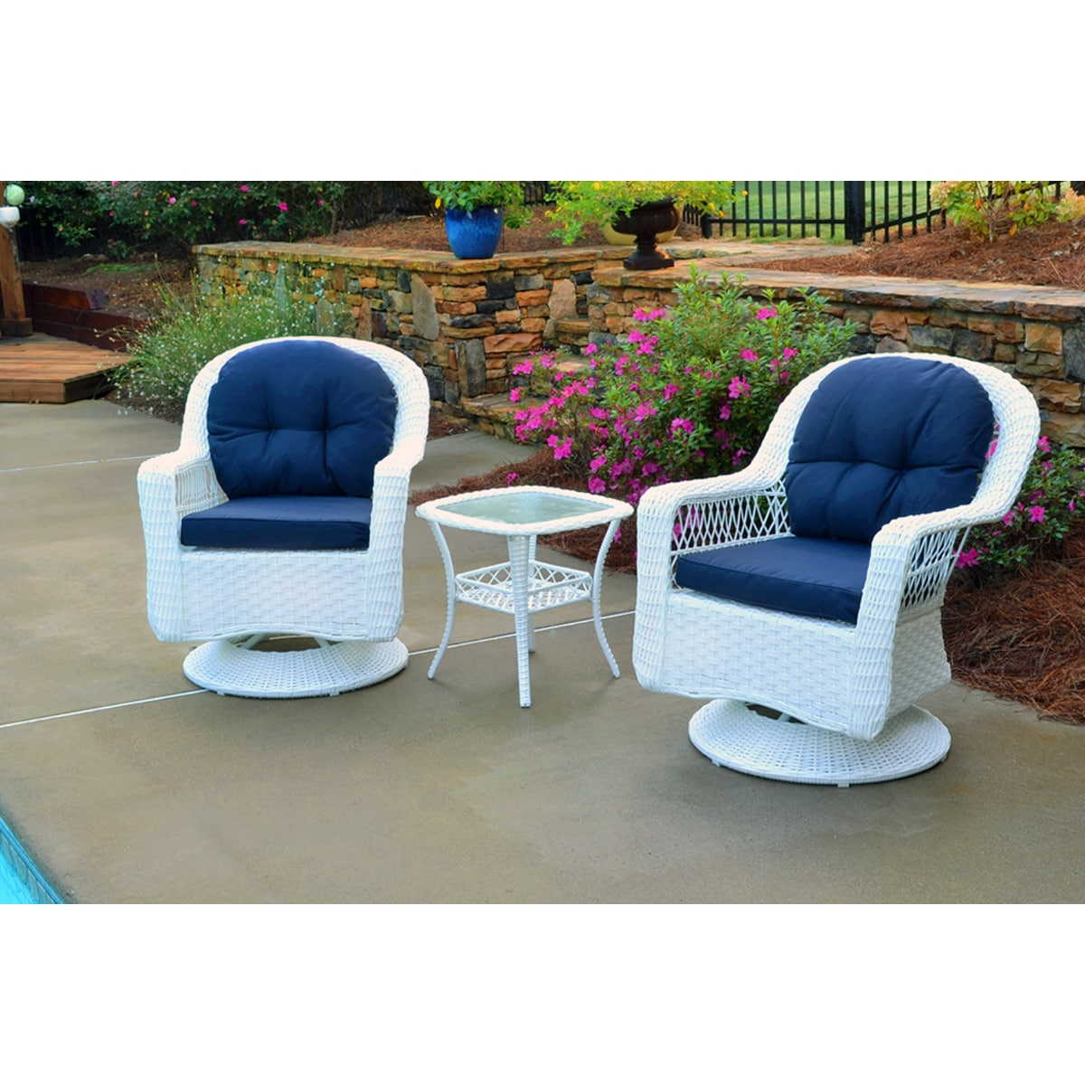 Shop biloxi outdoor white resin wicker 3 piece swivel glider set with blue cushions on sale free shipping today overstock 10634495