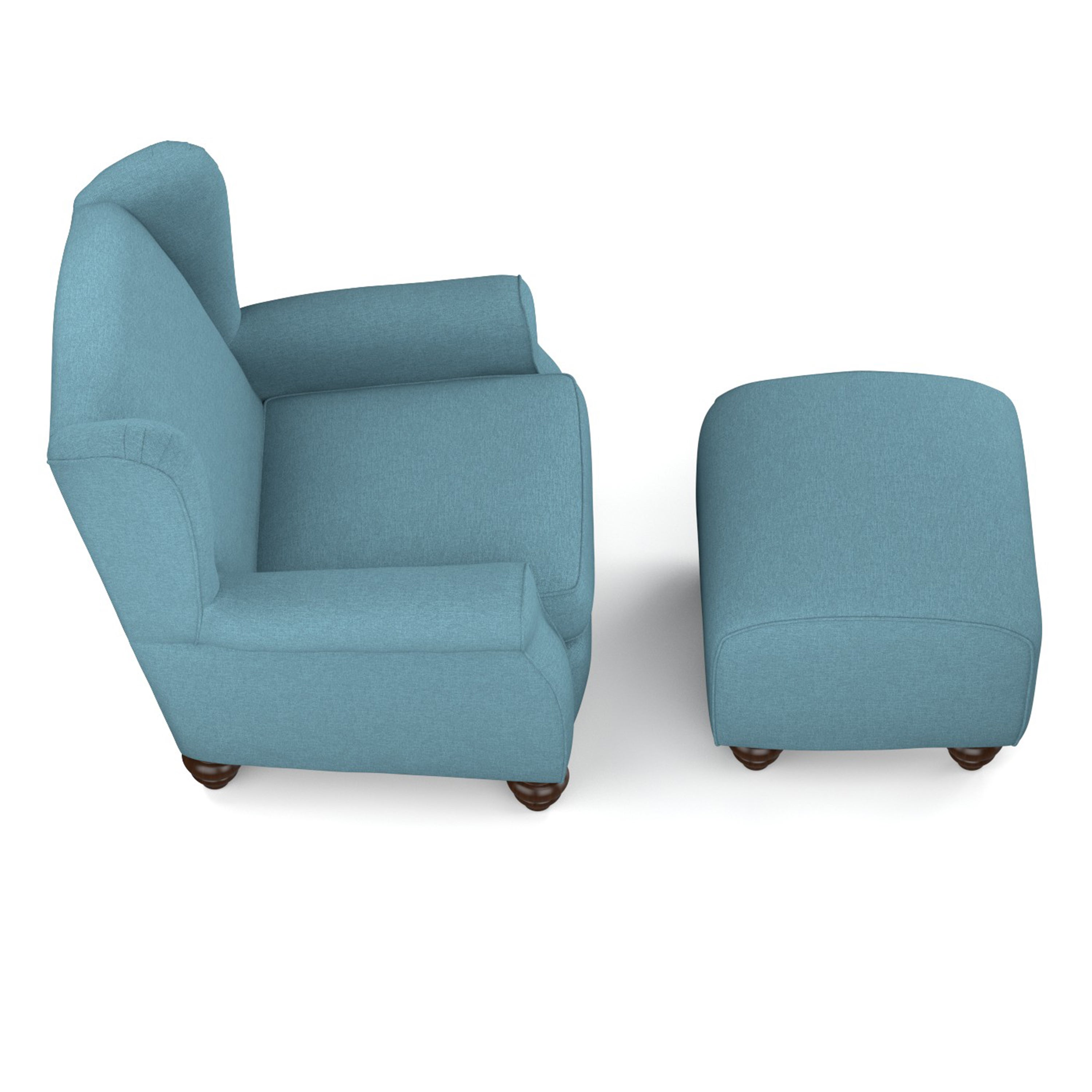 Shop Handy Living Hana Caribbean Blue Linen Wingback Chair And Ottoman Set    On Sale   Free Shipping Today   Overstock.com   10634497