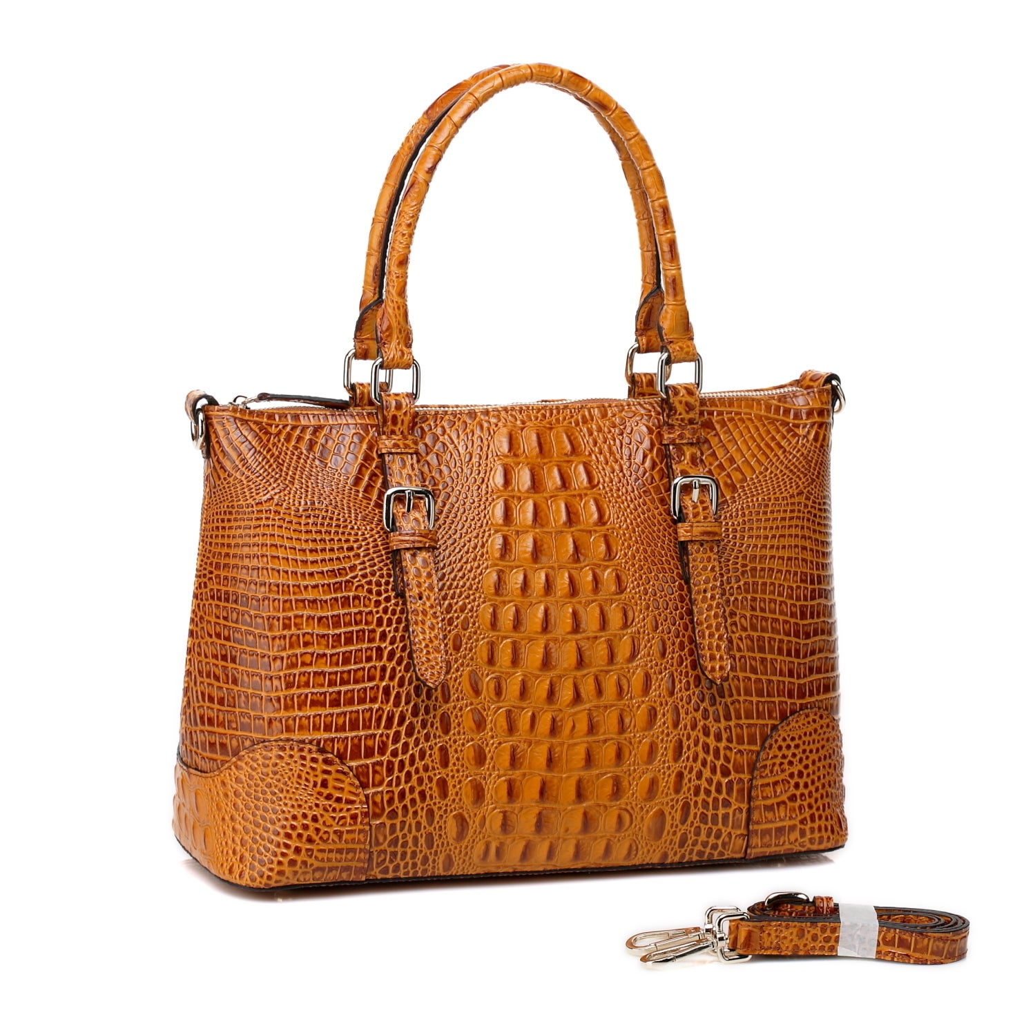 ce2f0fb51c Shop Vicenzo Leather Carole Croc Embossed Leather Tote Handbag - Free  Shipping Today - Overstock - 10639977