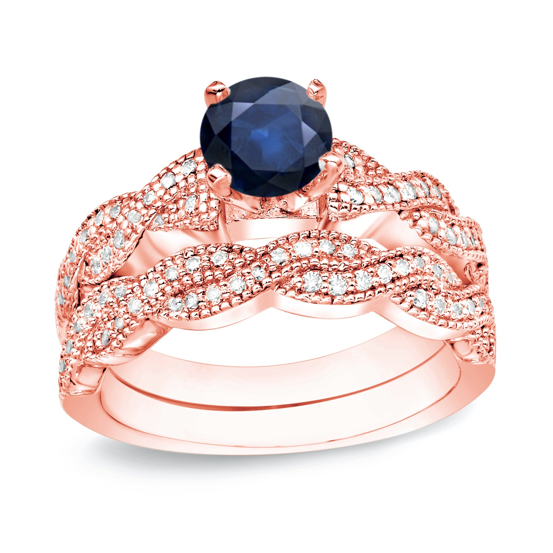 Shop Auriya 14k Gold 1/2ct Sapphire and 1/2ct TDW Diamond Engagement ...