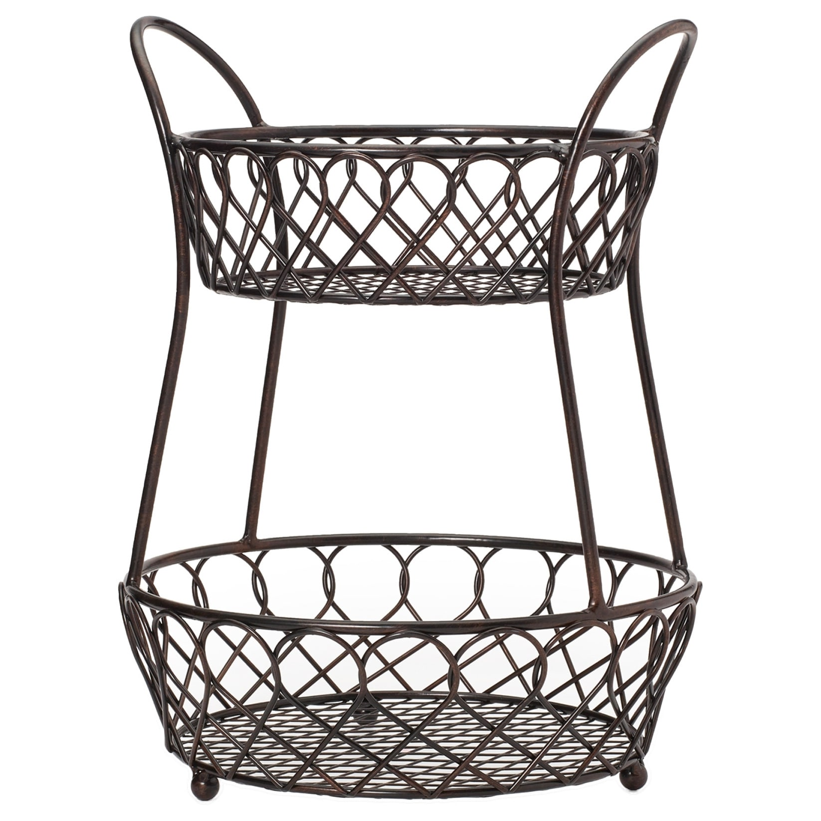 Gourmet Basic By Mikasa Loop And Lattice 2 Tier Basket Antique Black Finis  - Free Shipping On Orders Over $45 - Overstock.com - 17709275