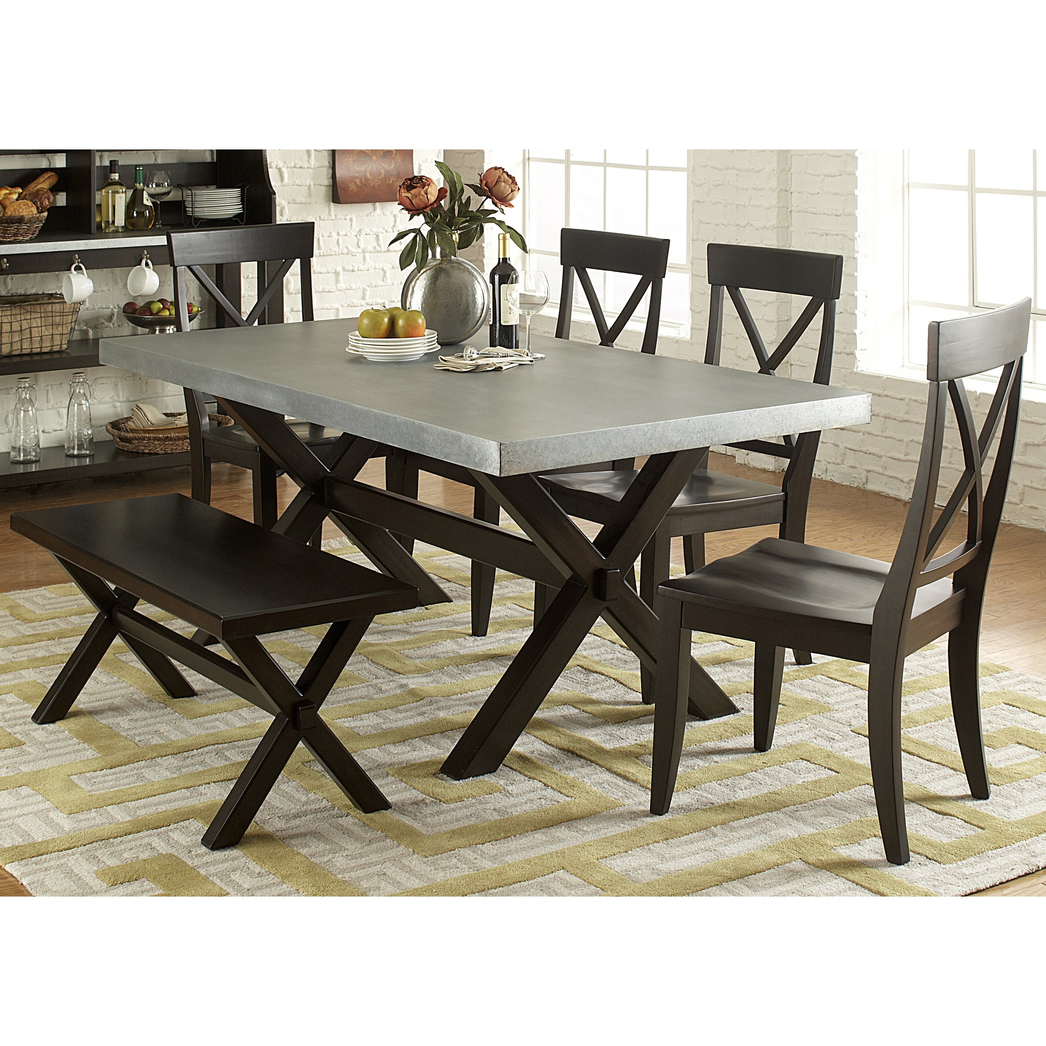 Shop Keaton Charcoal And Zinc Top Trestle Dinette Table