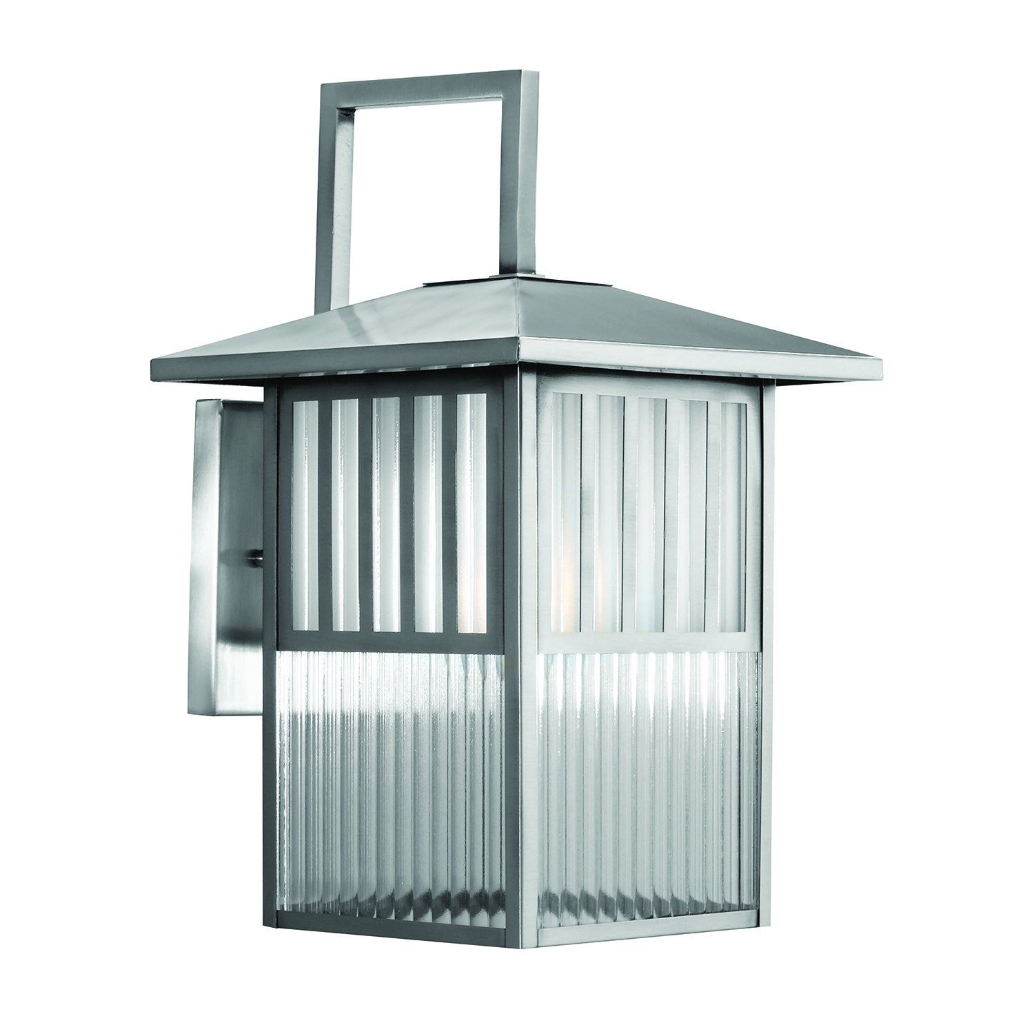 Shop Trasitional 1-light Brushed Nickel Outdoor Wall Lantern - Free ...