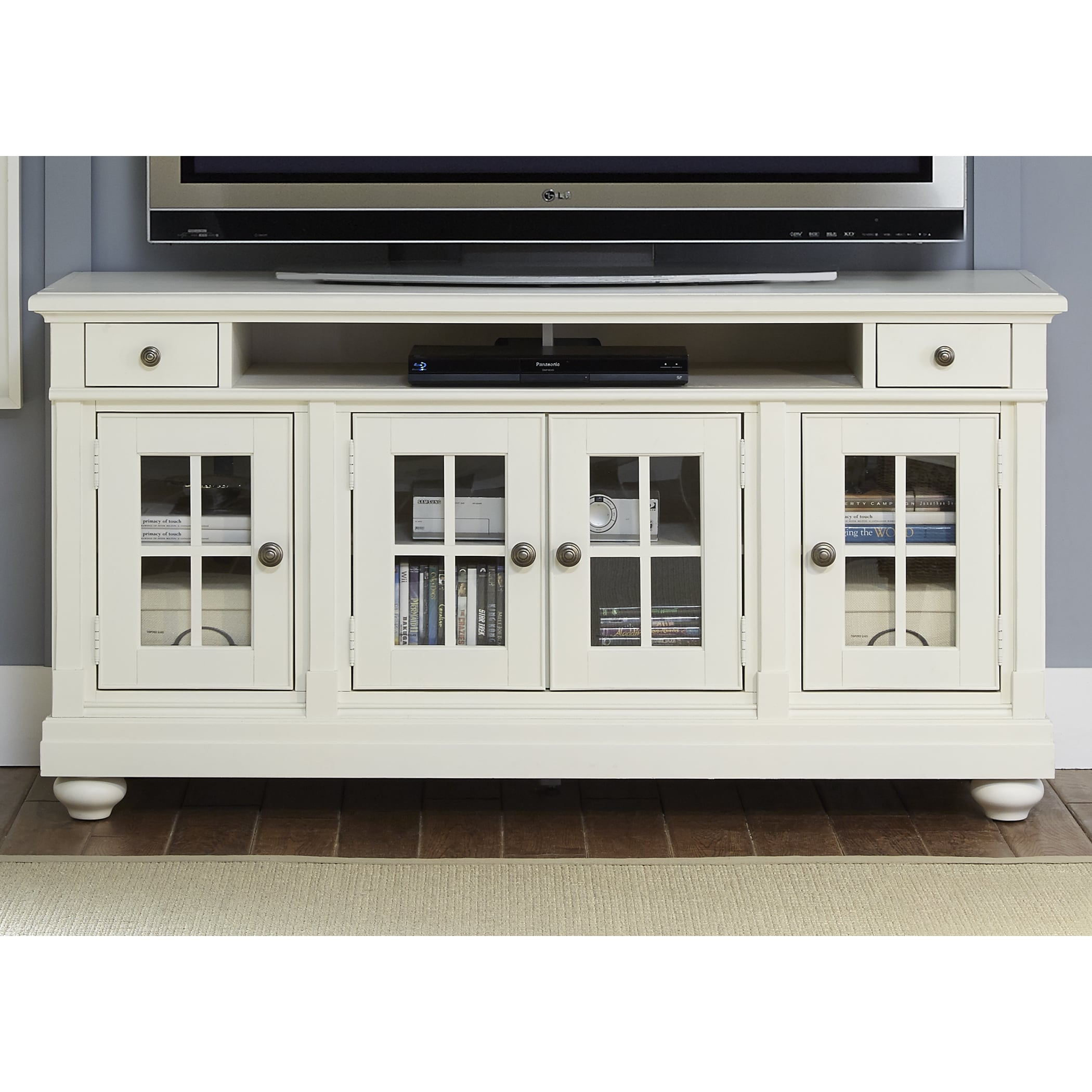 Cottage Harbor View Distressed Linen Tv Console  Free Shipping