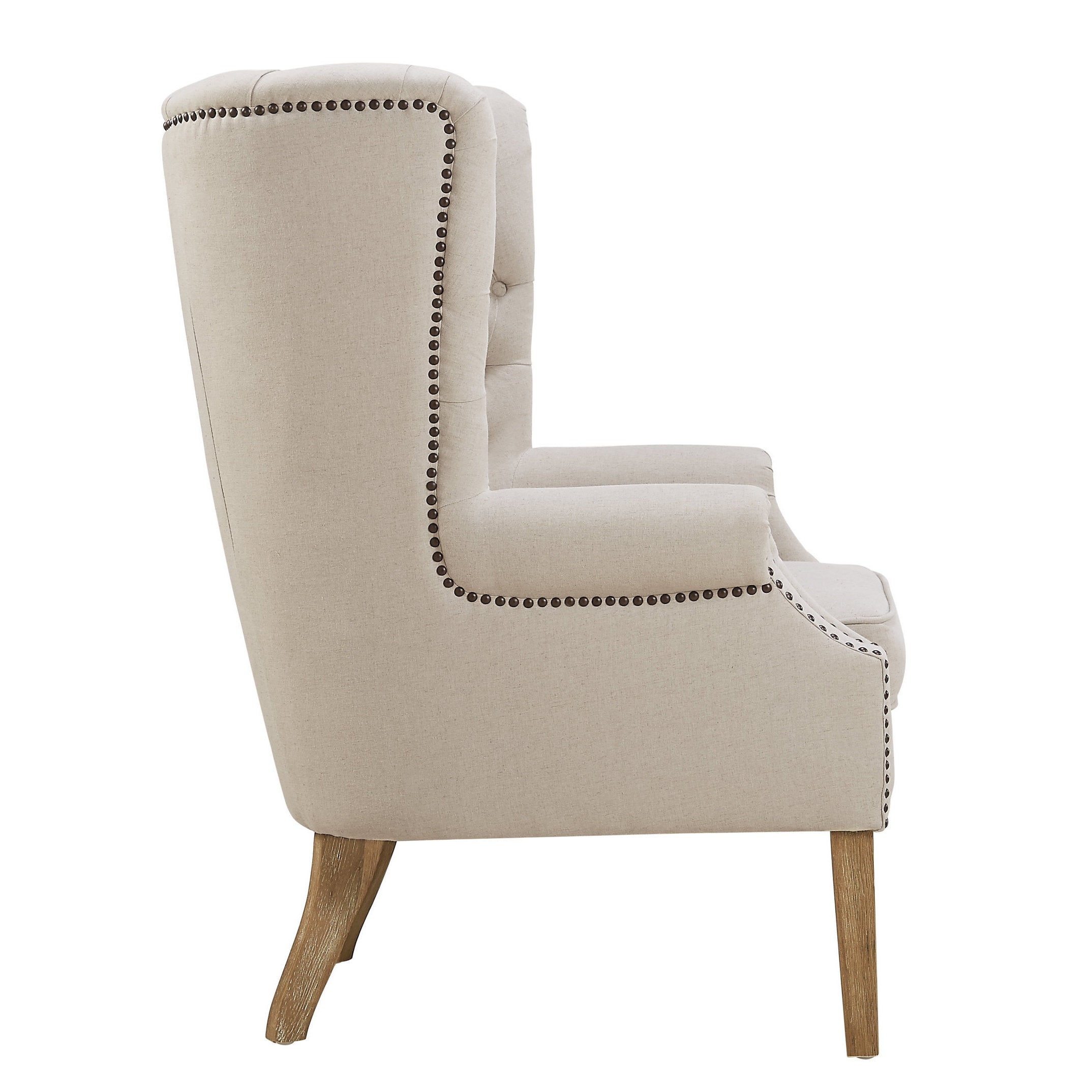 Etonnant Shop Abe Beige Linen Wing Chair   Free Shipping Today   Overstock.com    10648364