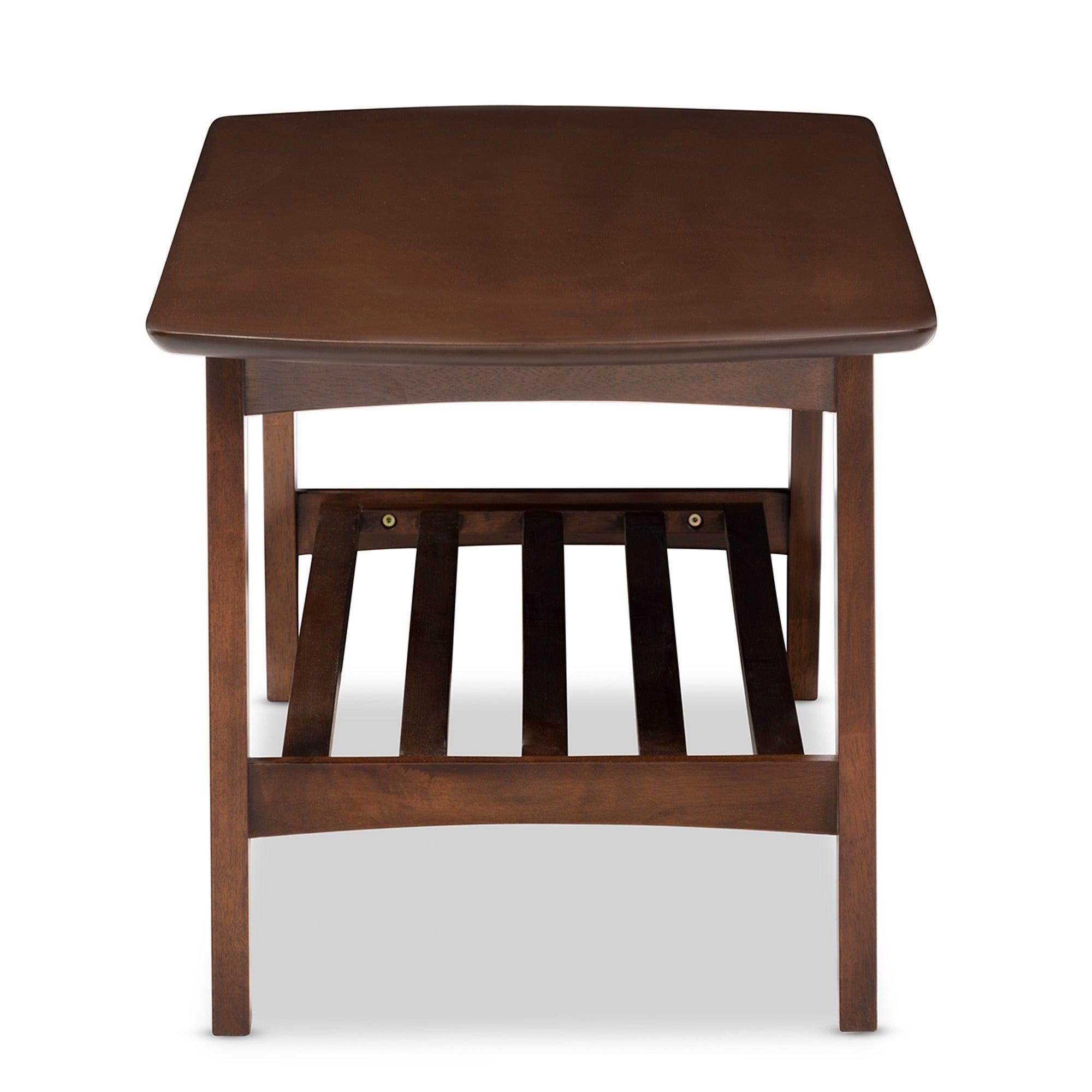 Carson Carrington Karkkila Mid Century Modern Scandinavian Style Dark  Walnut Coffee Table   Free Shipping Today   Overstock   17715485