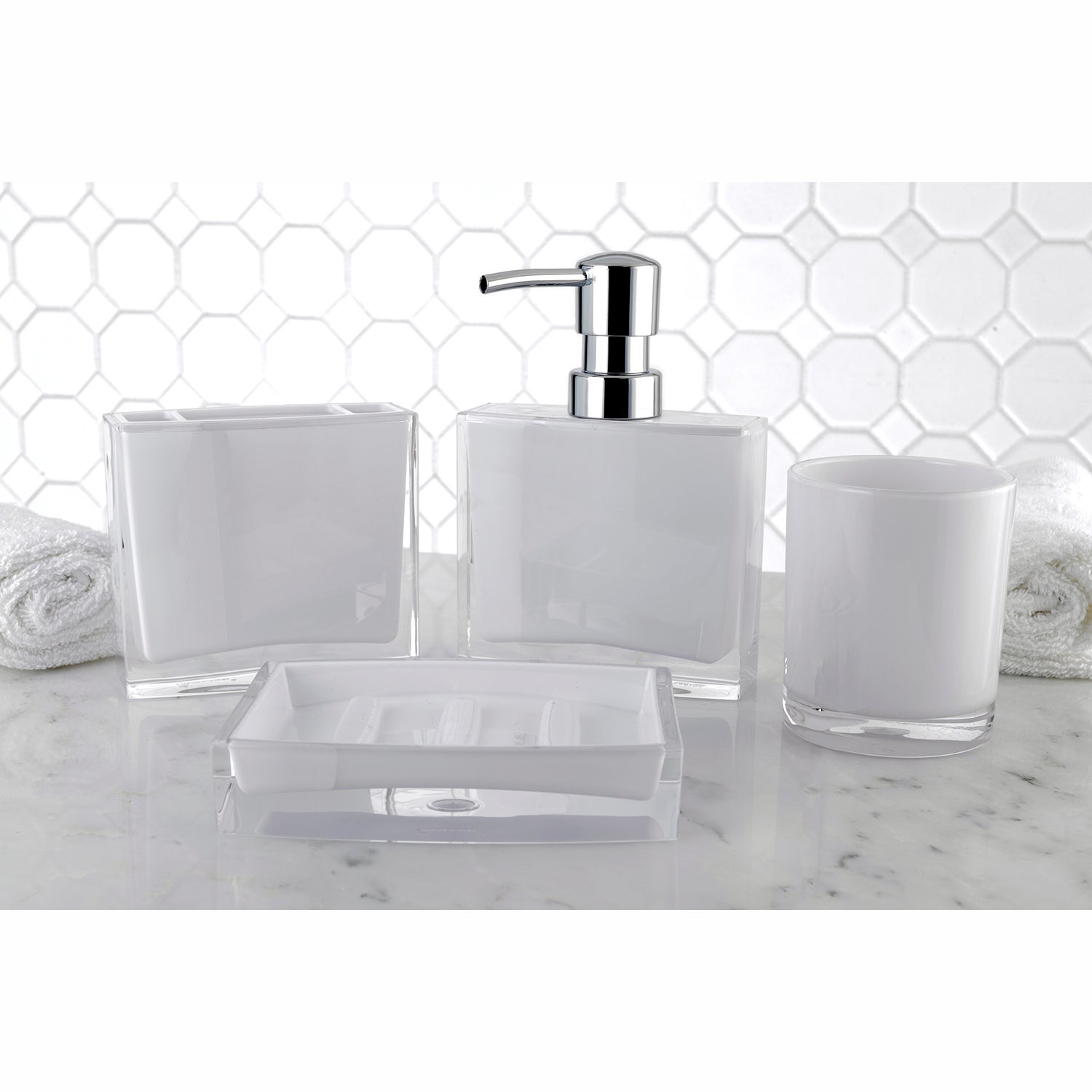 Modern White 4-Piece Bath Accessory Set - Free Shipping On Orders ...