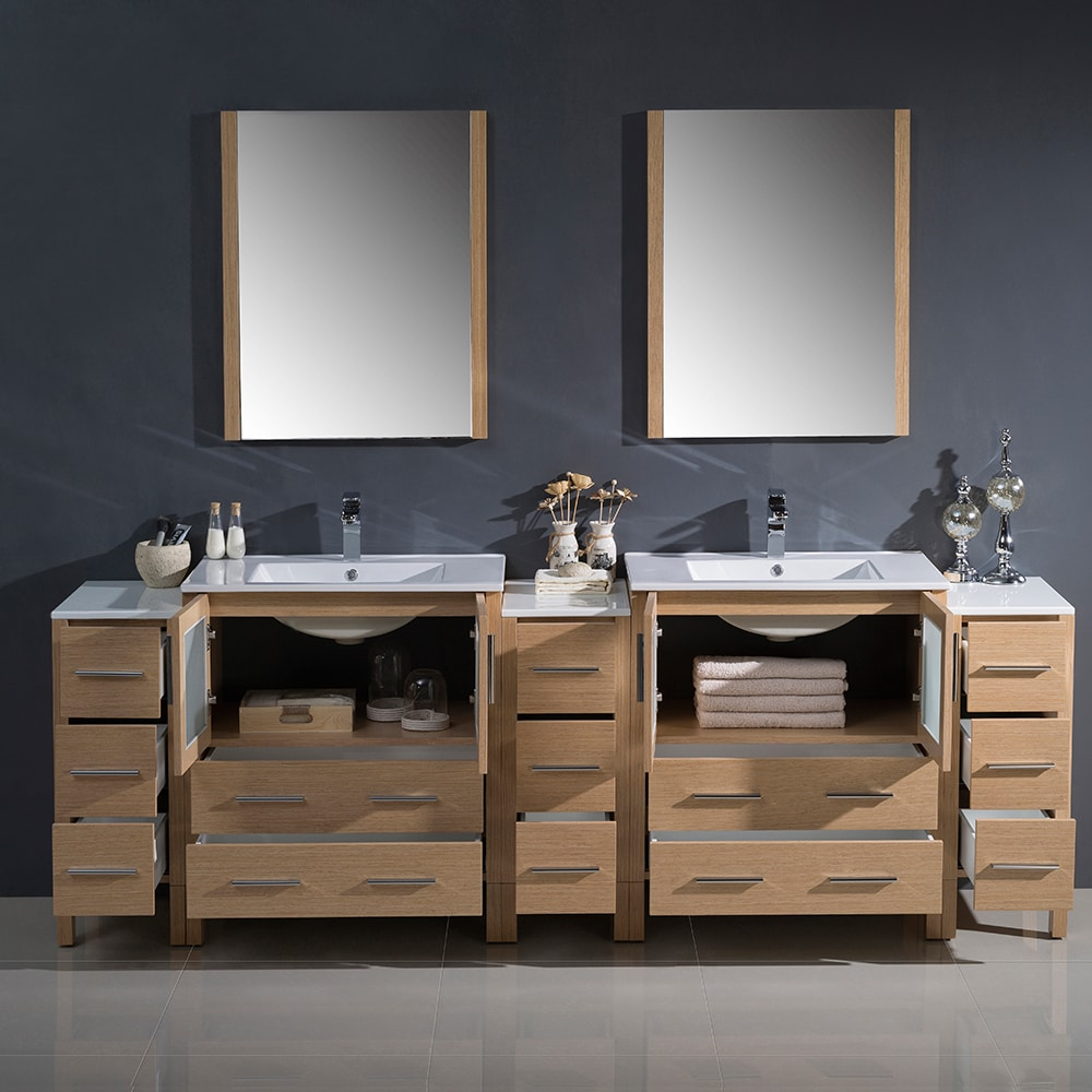 Fresca Torino 96 Inch Light Oak Modern Double Sink Bathroom Vanity With 3 Side Cabinets And Integrated Sinks Free Shipping Today