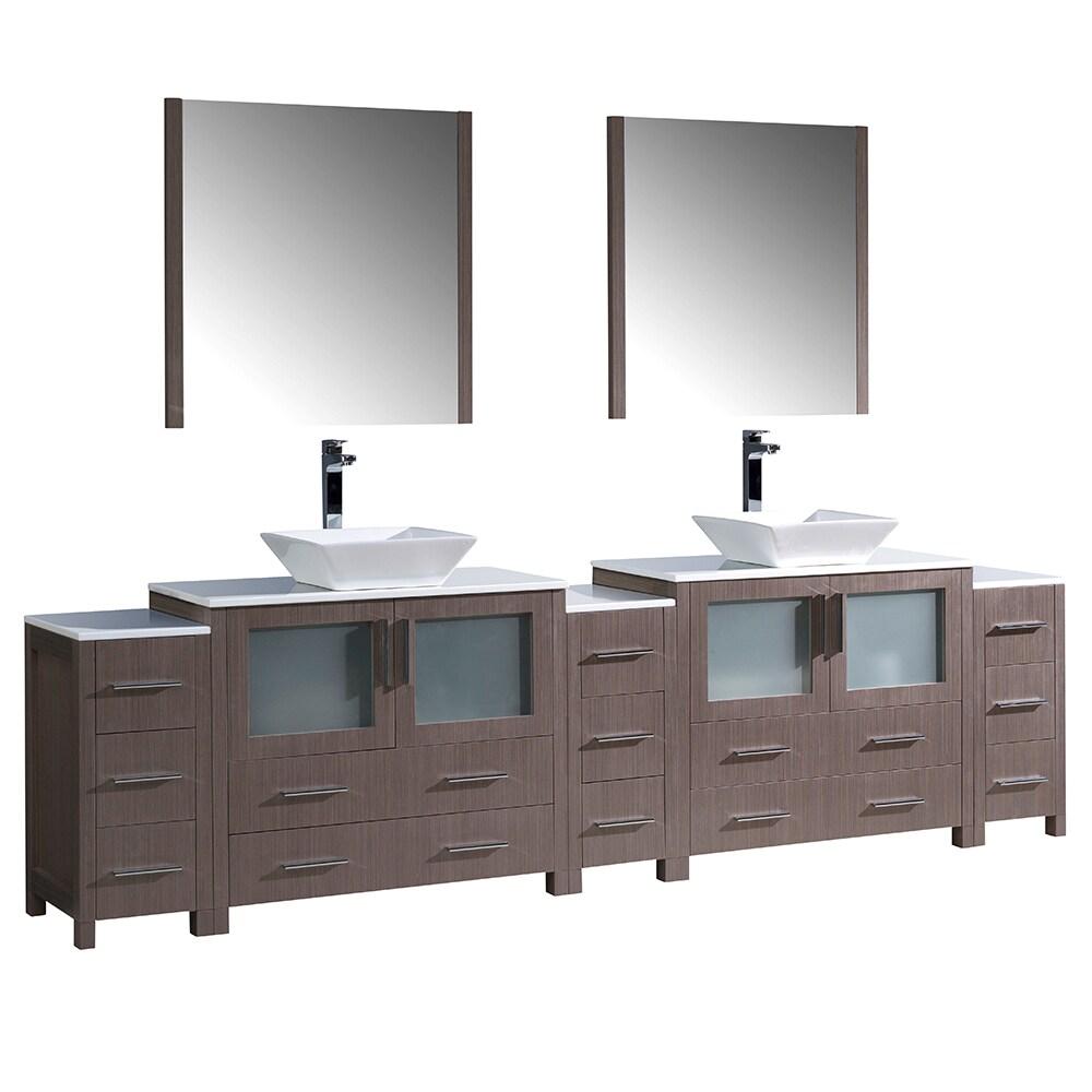 Shop Fresca Torino 108 Inch Grey Oak Modern Double Sink Bathroom