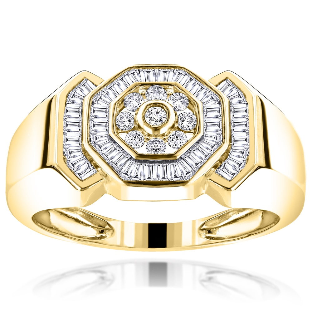 441bd64cd10be Luxurman 10k Gold Men's 1ct TDW Round and Baguette Diamond Ring