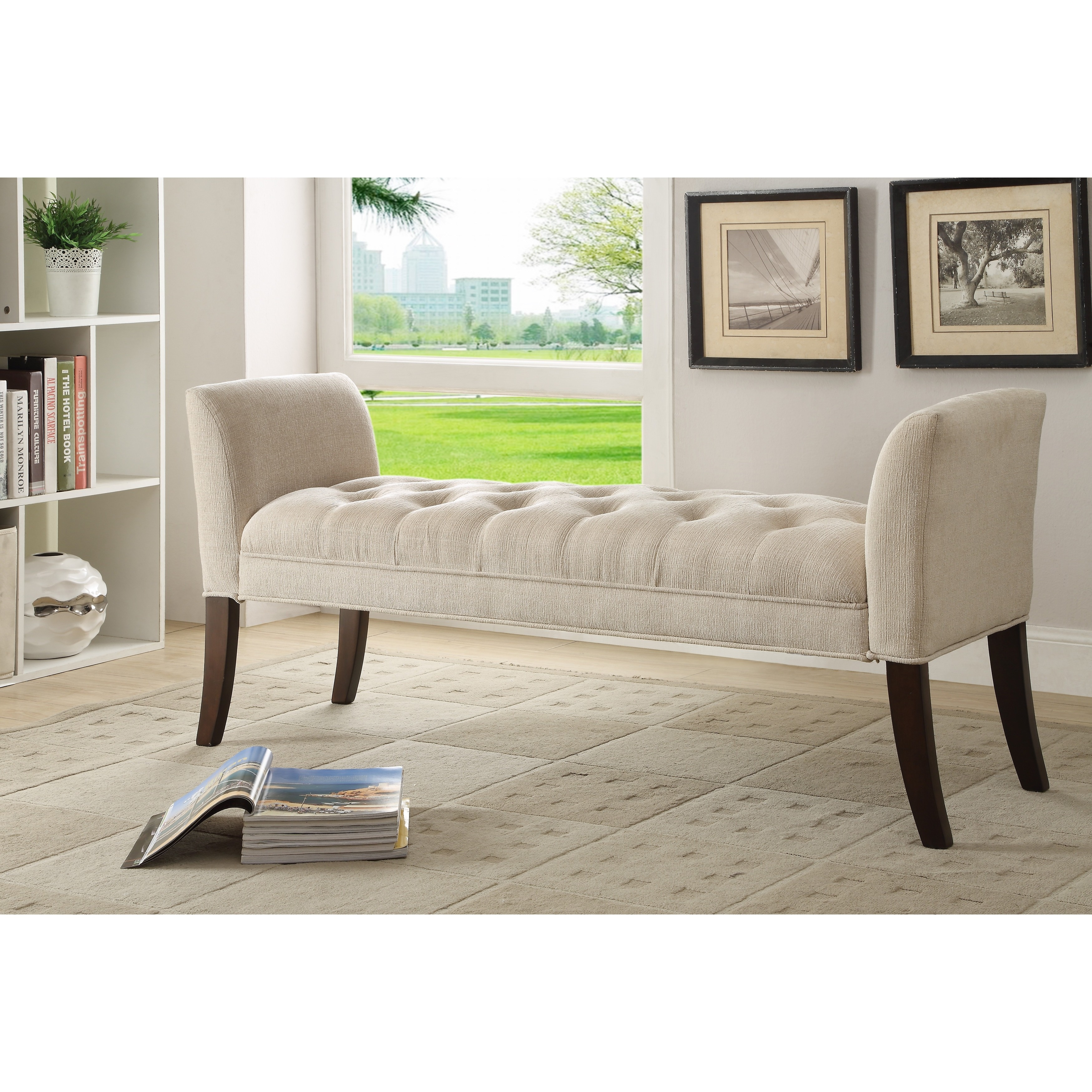 Shop Somette Cream Button-Tufted Accent Bench - Free Shipping Today ...