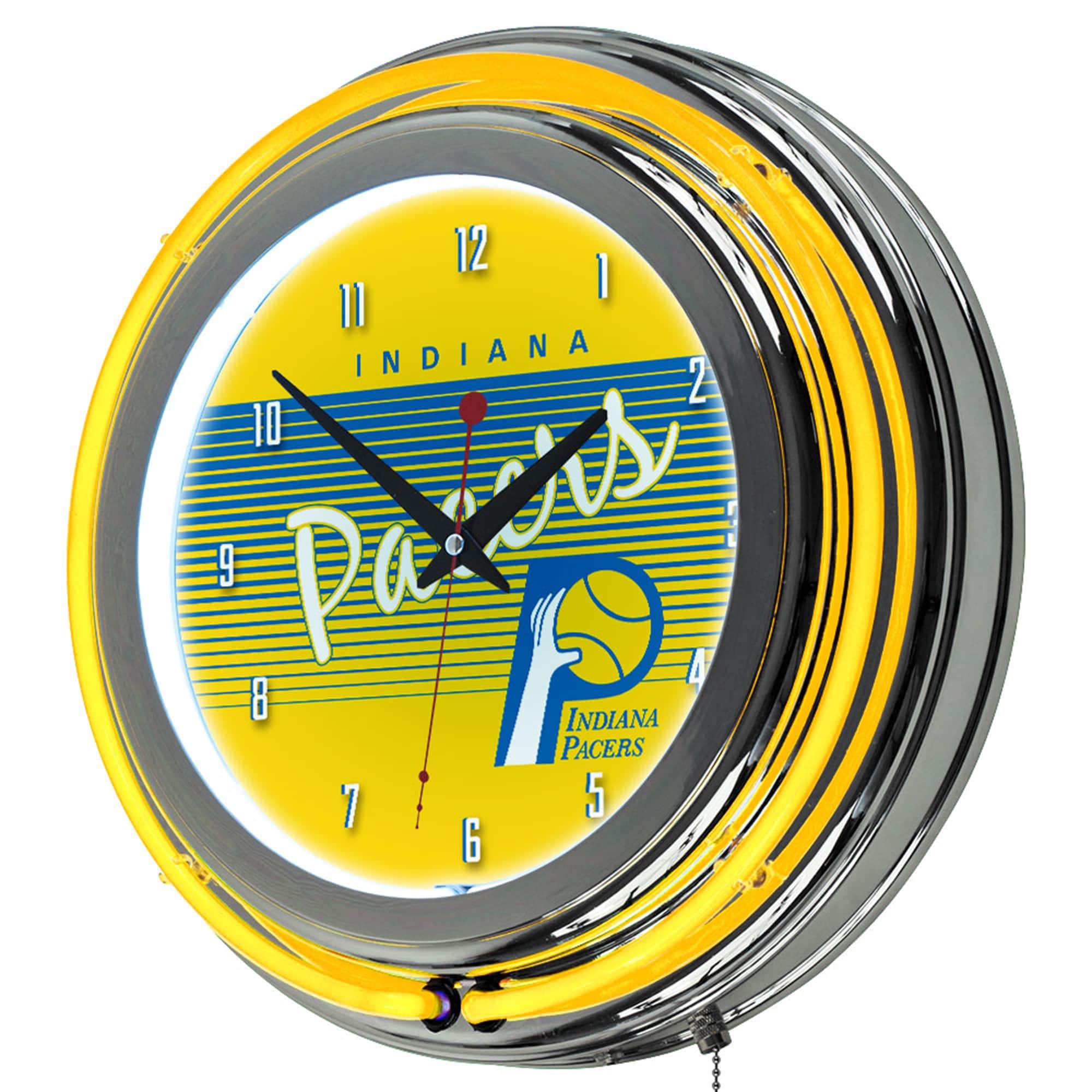 Shop Indiana Pacers Hardwood Classics NBA Chrome Neon Clock - On Sale - Free  Shipping Today - Overstock.com - 10654091 e97dea05c