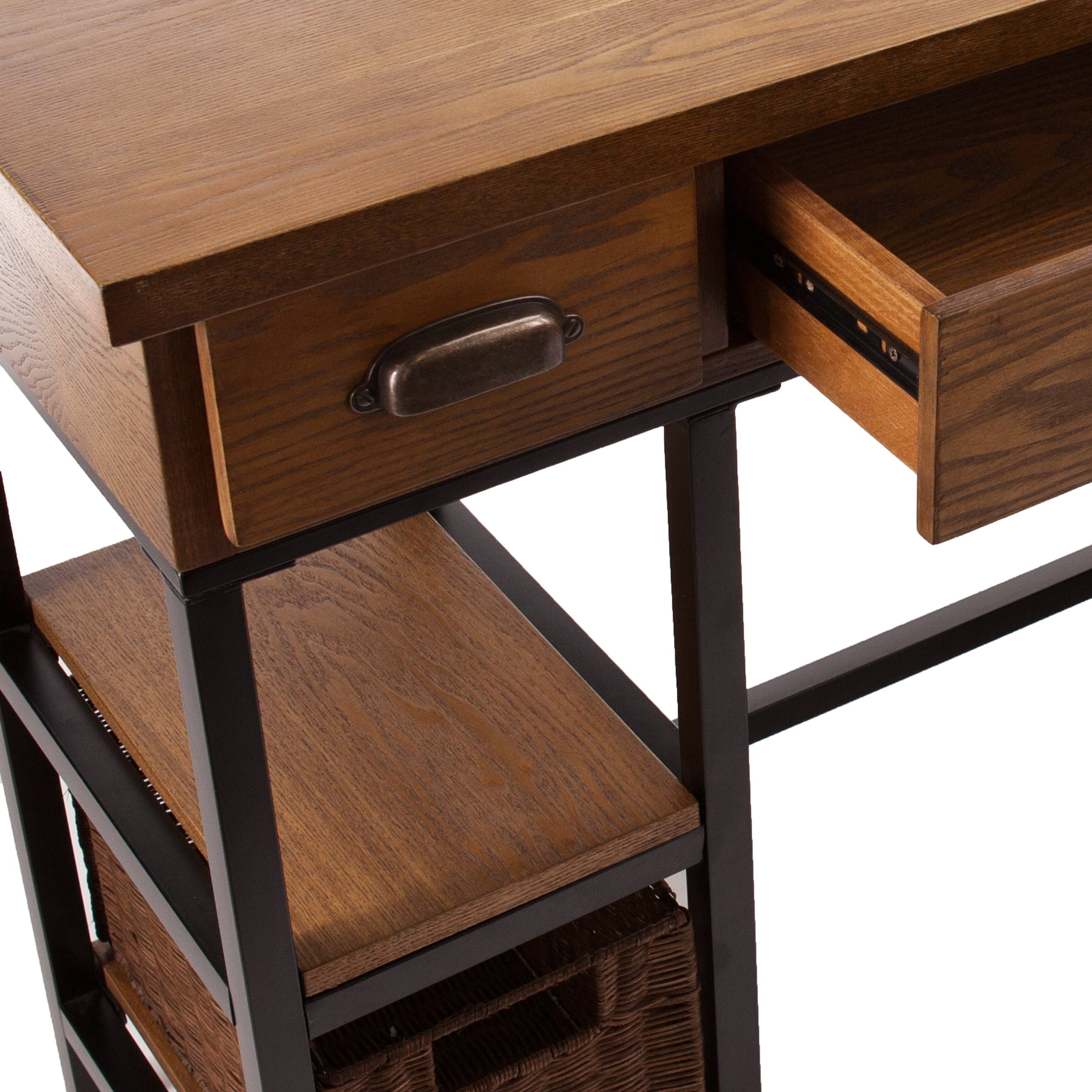 furniture bases drawers desk as black of shaped main wooden room l study alluring idea brown the floor with wood on and magnetizing