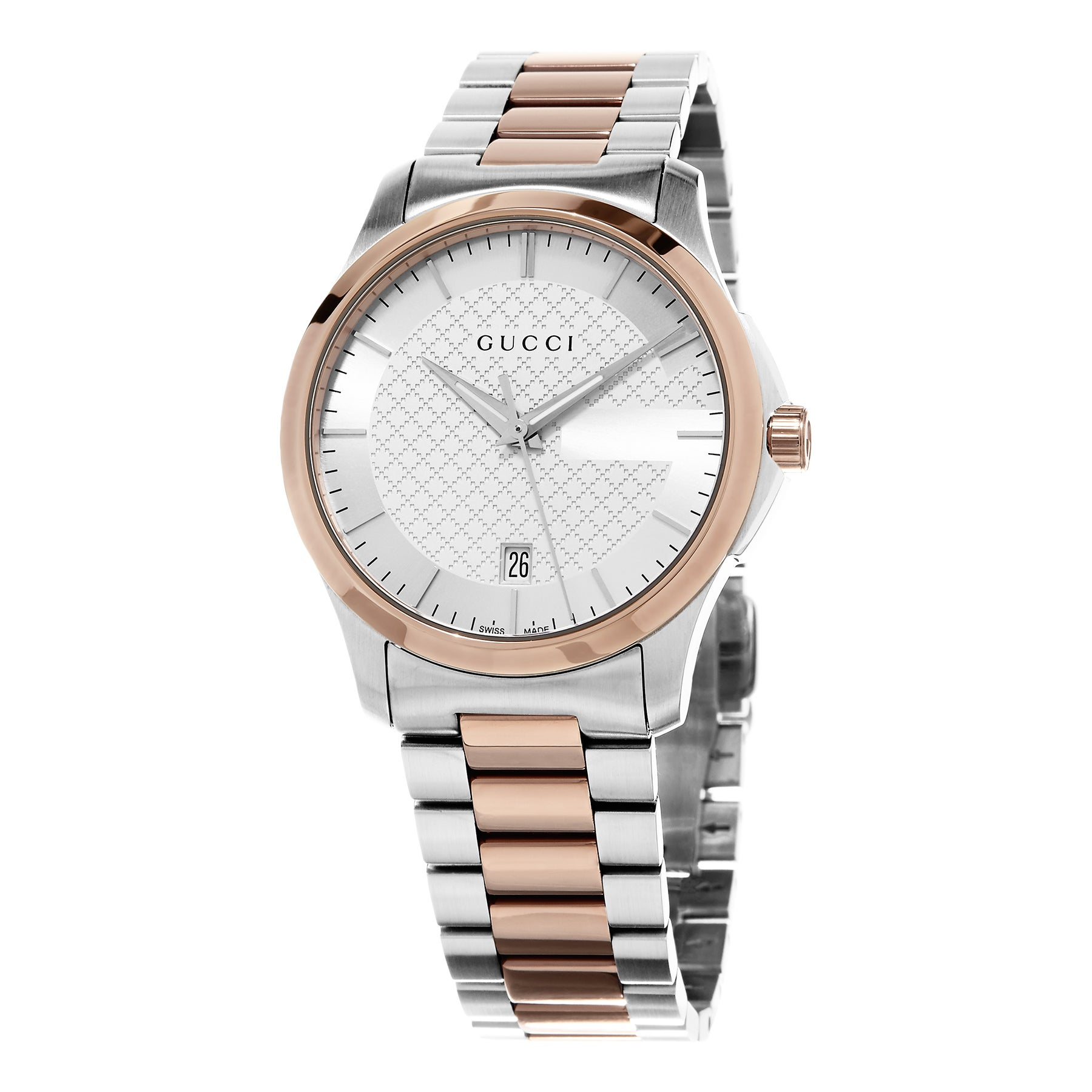 3e88eb15e7c Shop Gucci Women s  Timeless  Silver Dial Two Tone Stainless Steel Swiss  Quartz Watch - Free Shipping Today - Overstock - 10654436