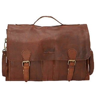 b6a7b23ff4dd Shop Sharo Extra wide Brown Soft Leather Laptop Computer Brief and Messenger  Bag - Free Shipping Today - Overstock - 10655186