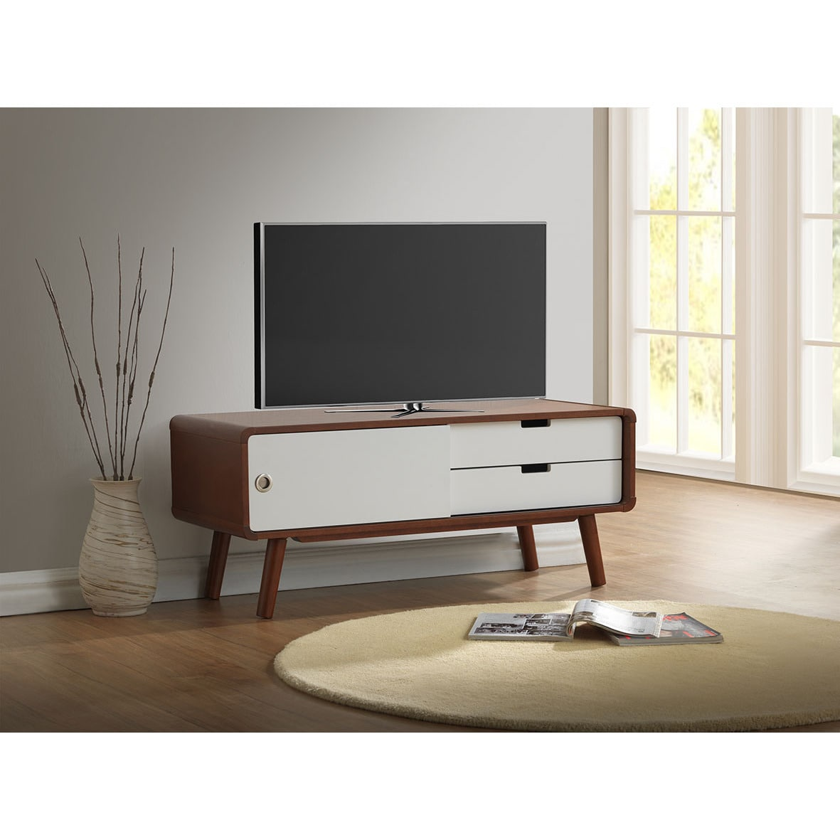 Baxton Studio Armani Mid Century Dark Walnut And White Tv Stand Free Shipping Today 10655450