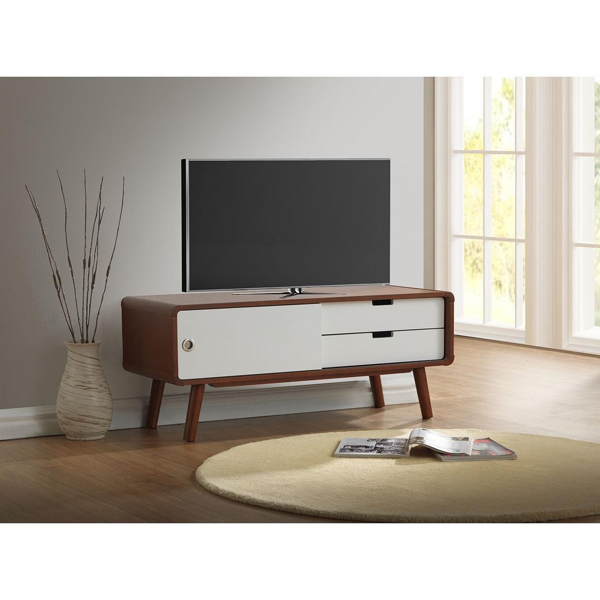 Baxton Studio Armani Mid Century Dark Walnut And White Tv Stand  # Meubles De Television En Bois