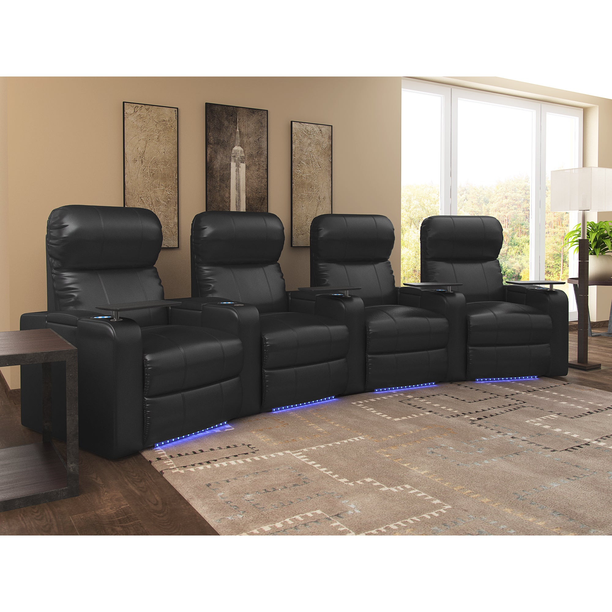 Octane Turbo Xl700 Curved Manual Recline Black Bonded Leather Home Theater Seating Row Of 4 Free Shipping Today 10655567