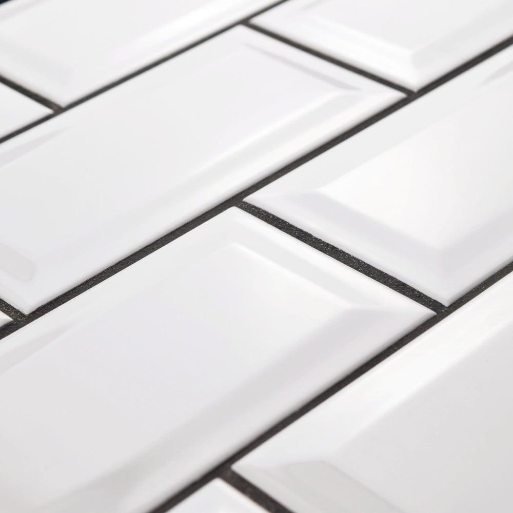 Shop Somertile 3x6 Inch Malda Beveled Subway Glossy White Ceramic