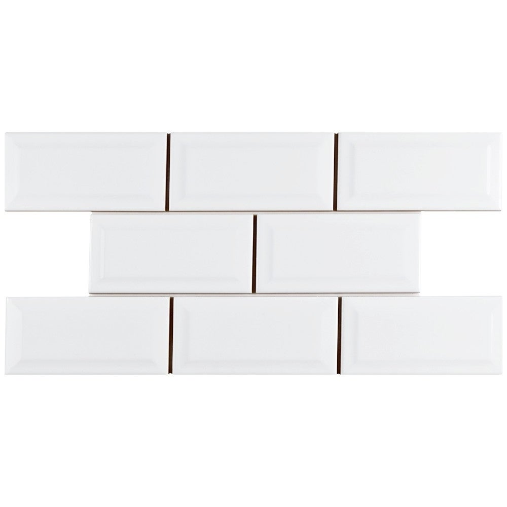 Somertile 3x6 Inch Malda Beveled Subway Glossy White Ceramic Wall Tile 136 Tiles 17 Sqft Free Shipping Today 10656103