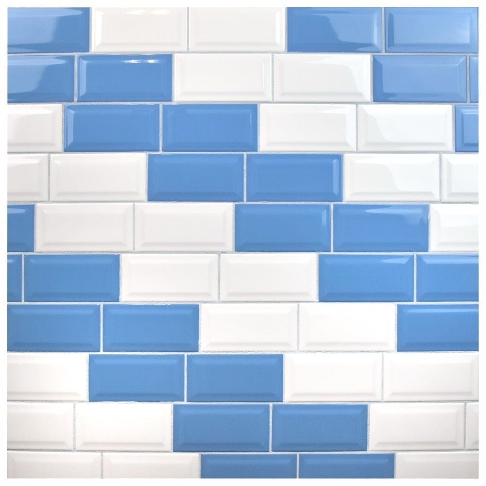 SomerTile 3x6-inch Malda Beveled Subway Glossy White Ceramic Wall ...
