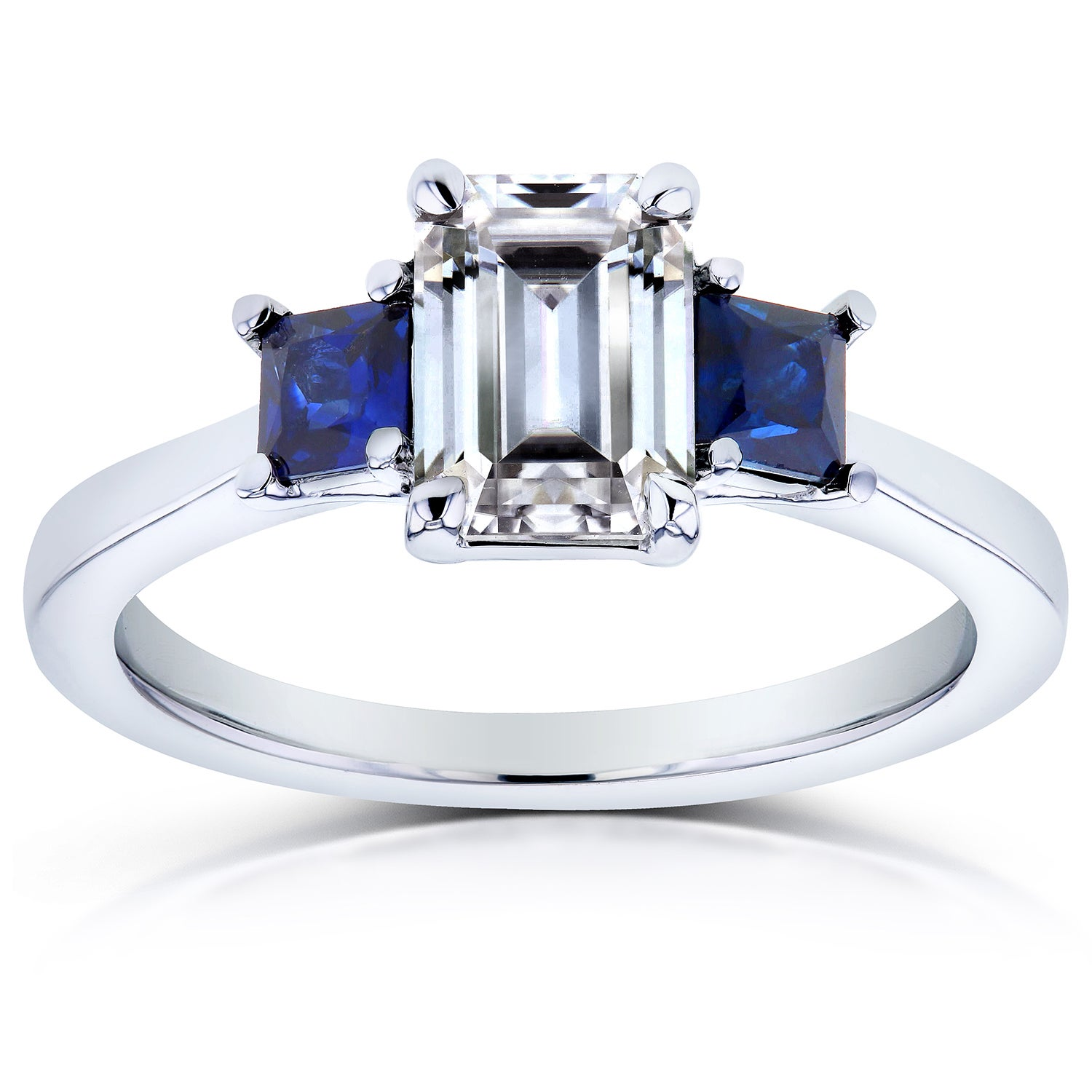 c752cb578df0e1 Annello by Kobelli 14k White Gold Emerald Cut Three Stone Moissanite and Blue  Sapphire, Diamond Accented Engagement Ring