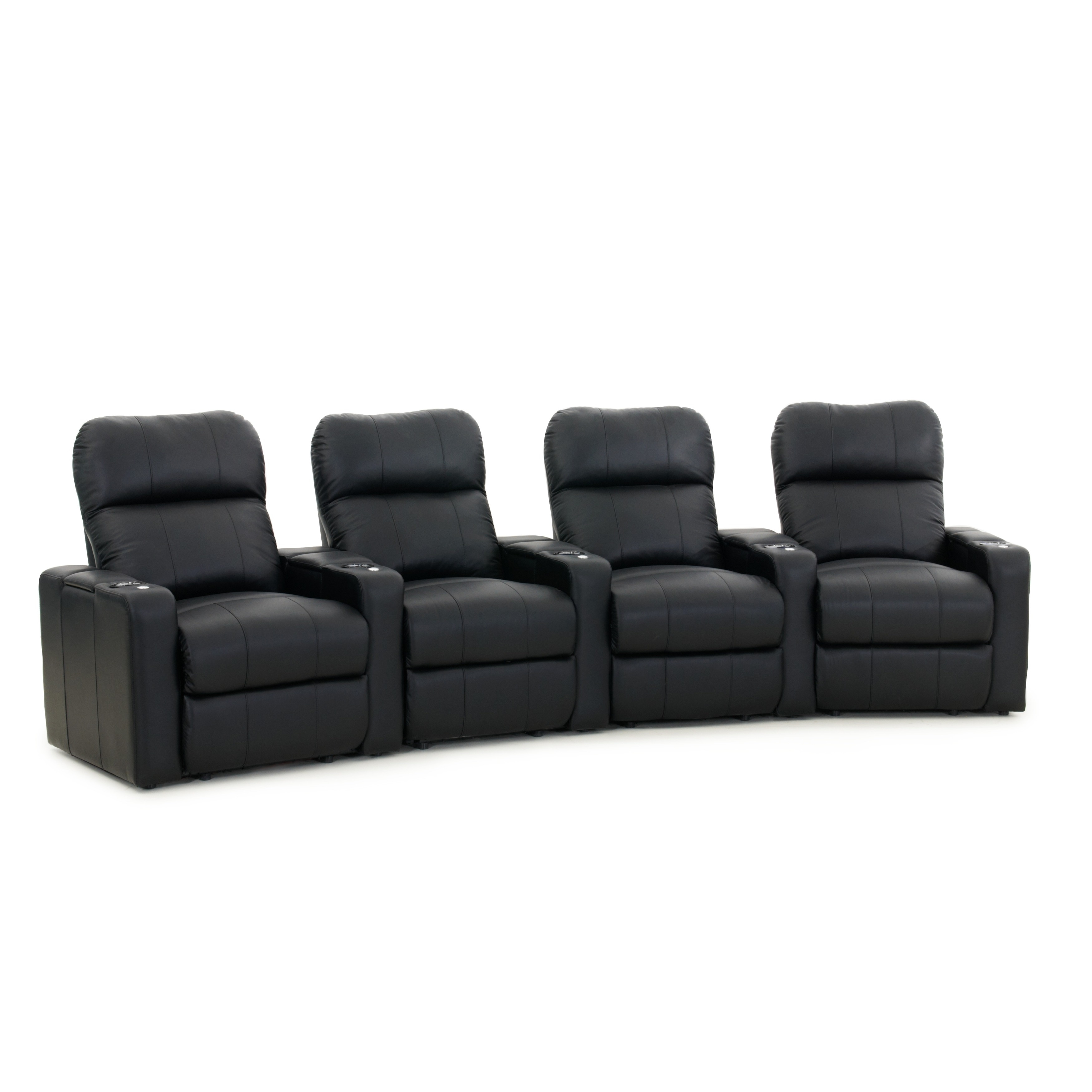 Octane Turbo Xl700 Curved Recline Black Premium Leather Home Theater Seating Row Of 4 Free Shipping Today 10656568