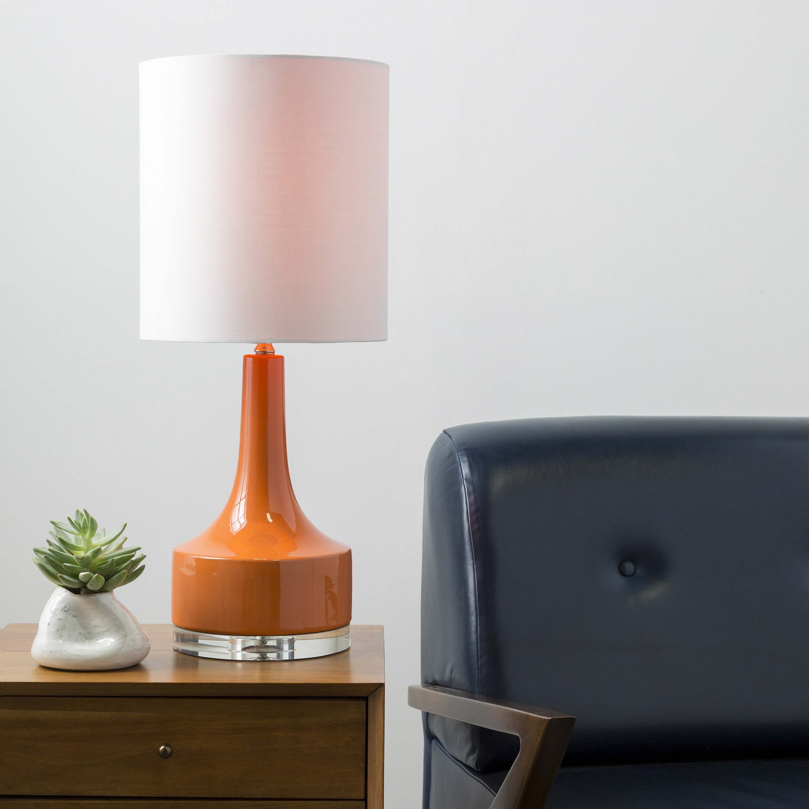 Shop Modern Emily Table Lamp With Glazed Ceramic Base   On Sale   Free  Shipping Today   Overstock.com   10657924