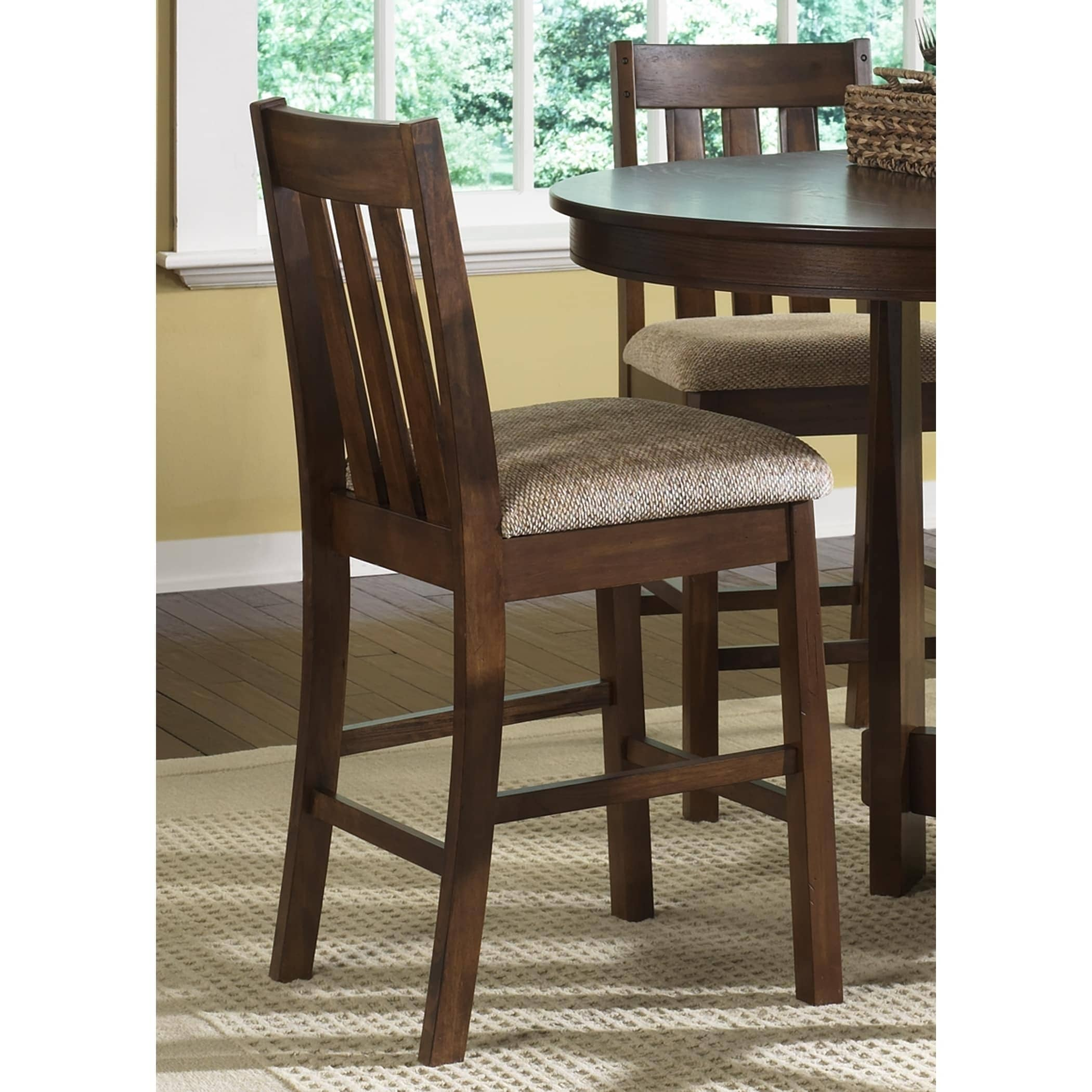 Shop urban mission dark oak counter height upholstered barstool free shipping today overstock com 10658114