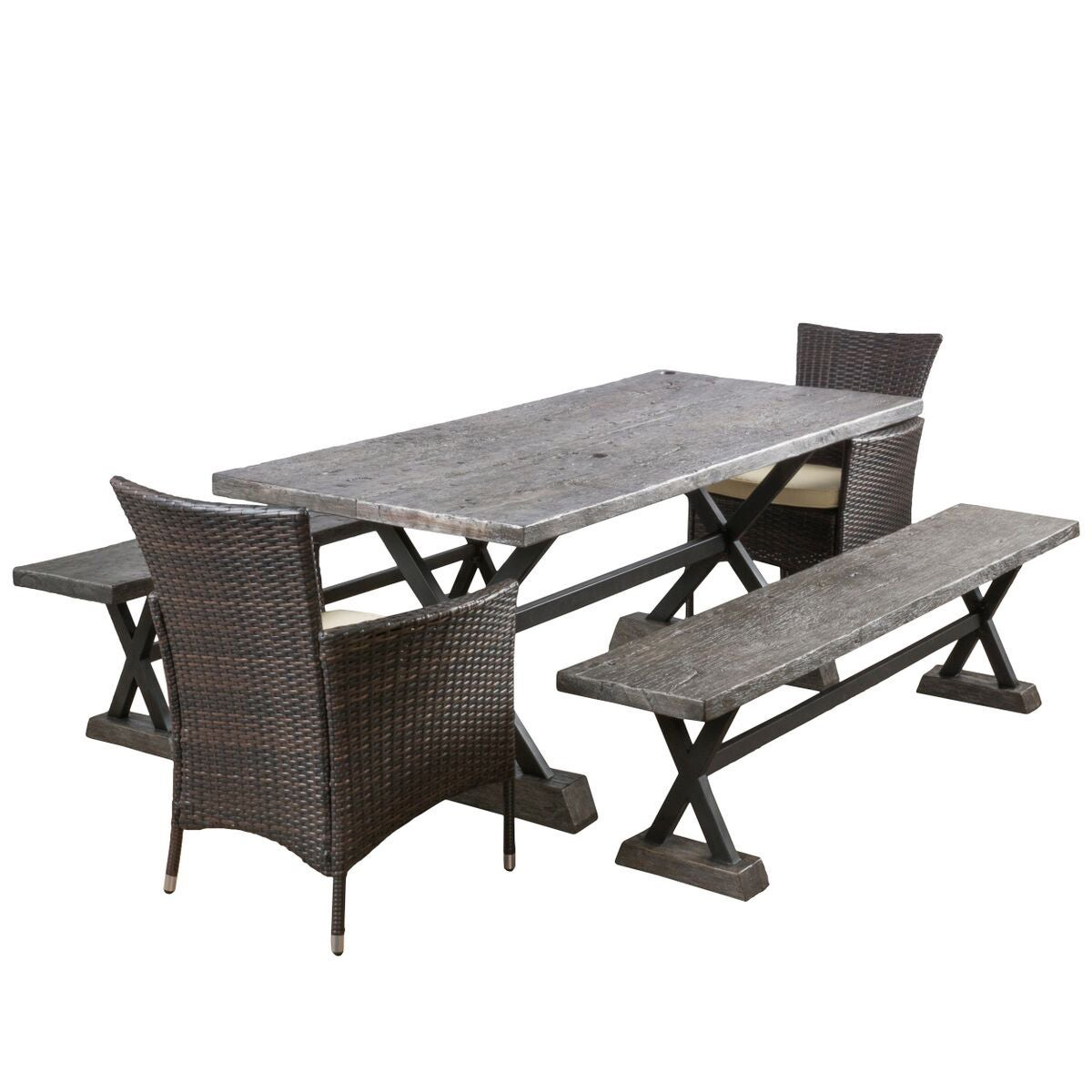 6-piece Ponza Outdoor Picnic Dining Set by Christopher Knight Home ...