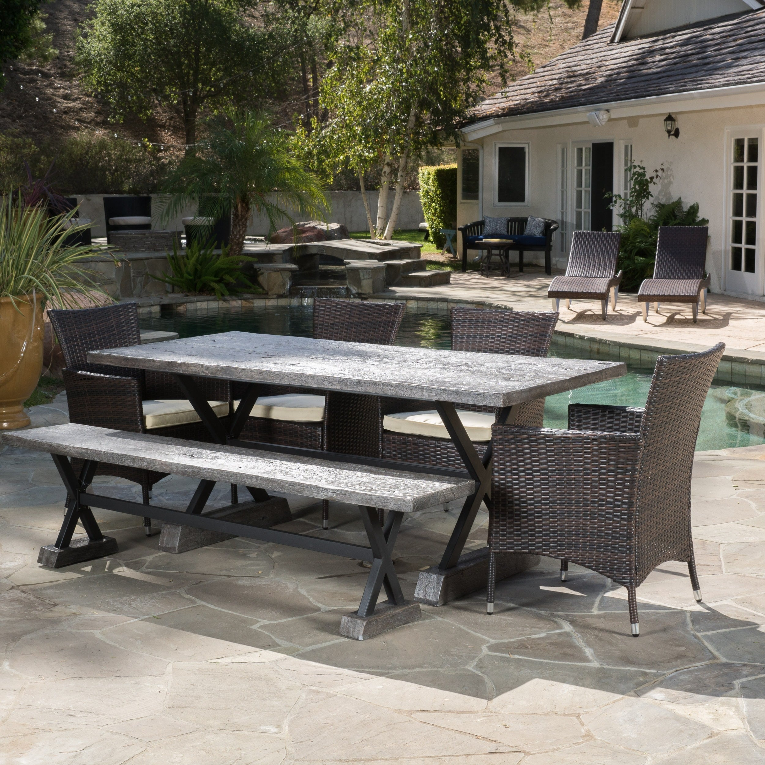 Shop 6 Piece Ponza Outdoor Picnic Dining Set By Christopher Knight