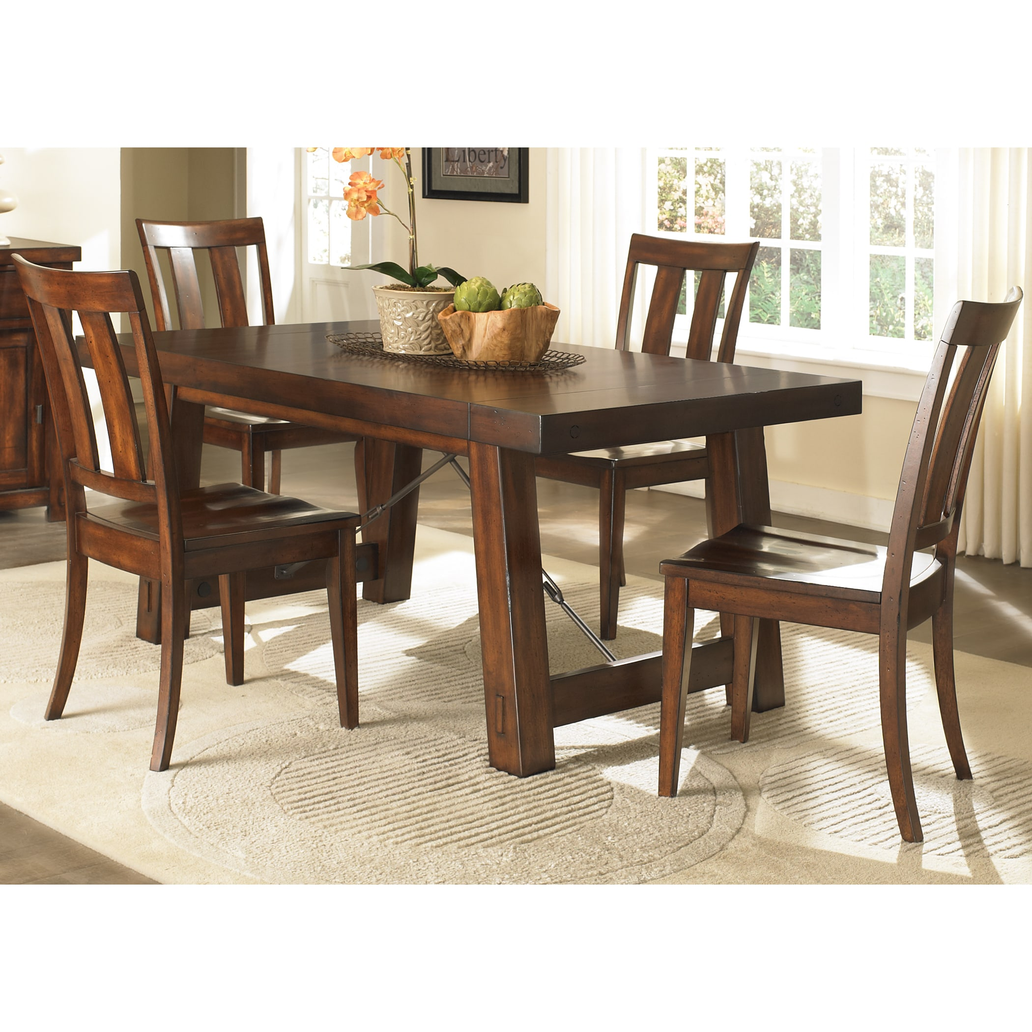 Wonderful Liberty Tahoe Mahogany Trestle Table   Free Shipping Today   Overstock    17725326