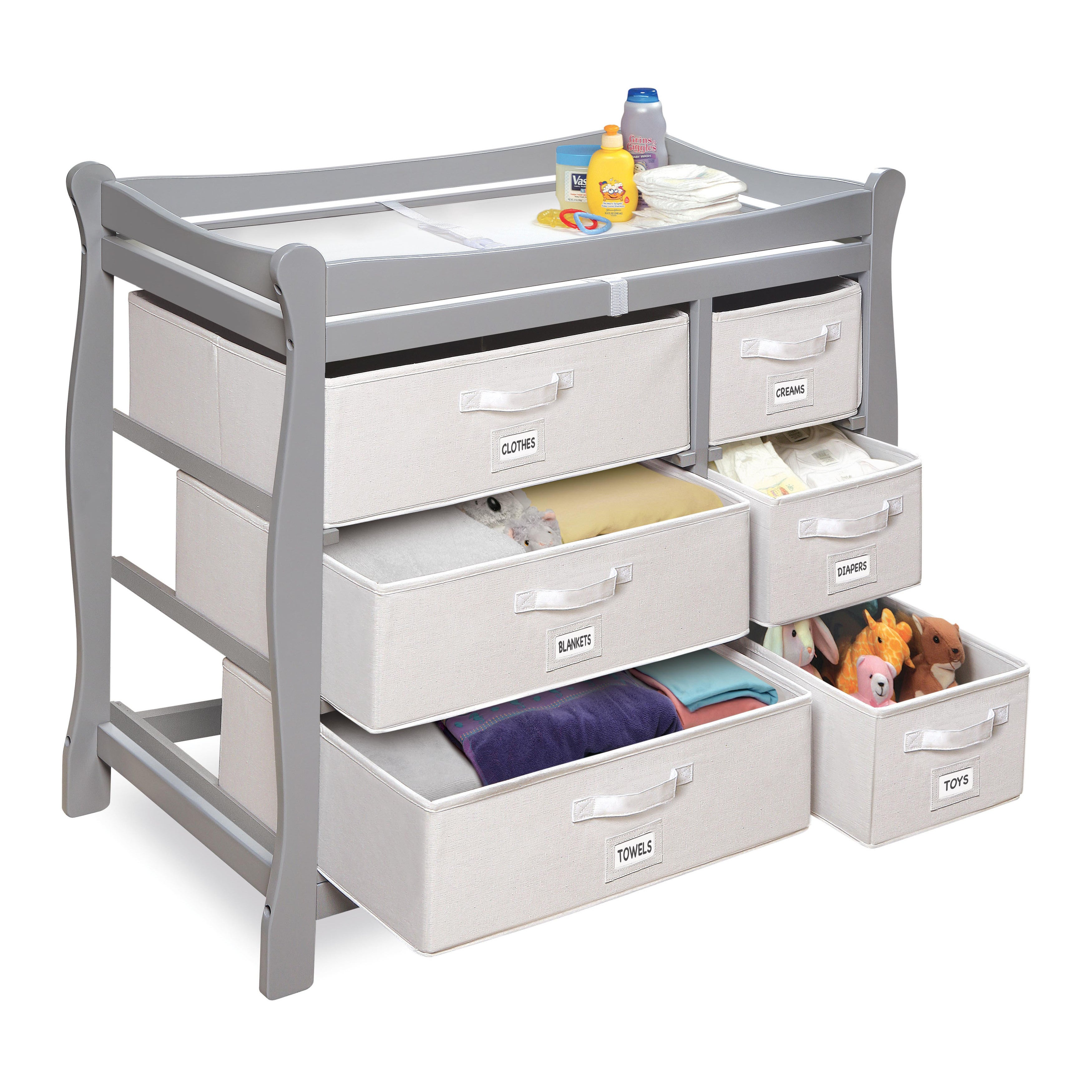 Shop Grey Wood Sleigh Changing Table With Baskets   Free Shipping Today    Overstock.com   10659373