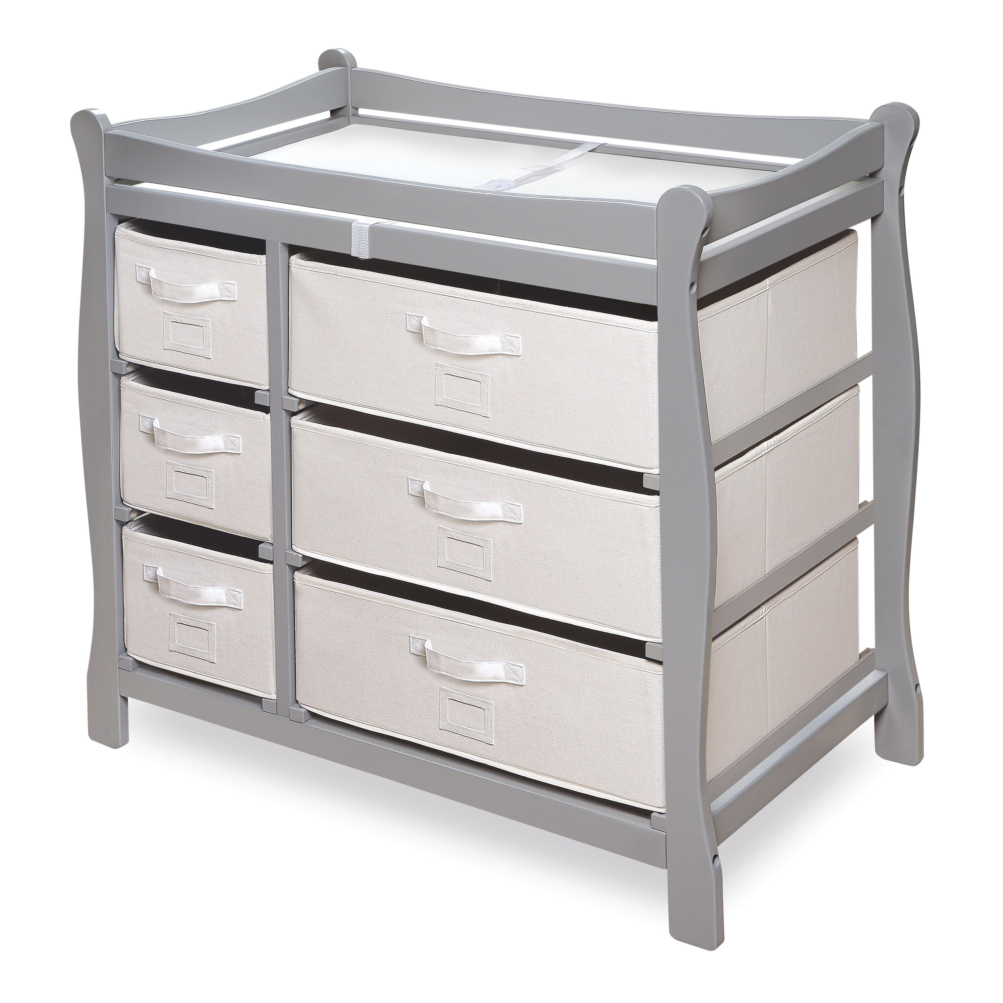 Beau Shop Grey Wood Sleigh Changing Table With Baskets   Free Shipping Today    Overstock.com   10659373