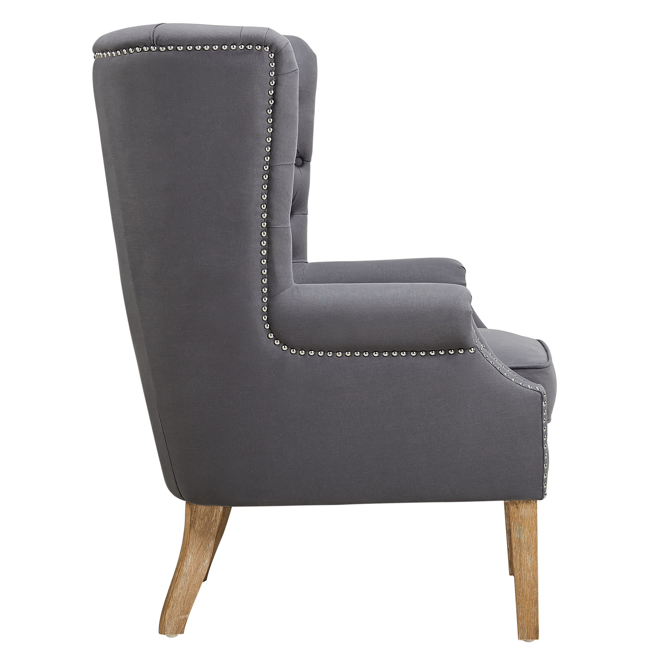 Shop Abe Grey Linen Wing Chair   Free Shipping Today   Overstock.com    10659681