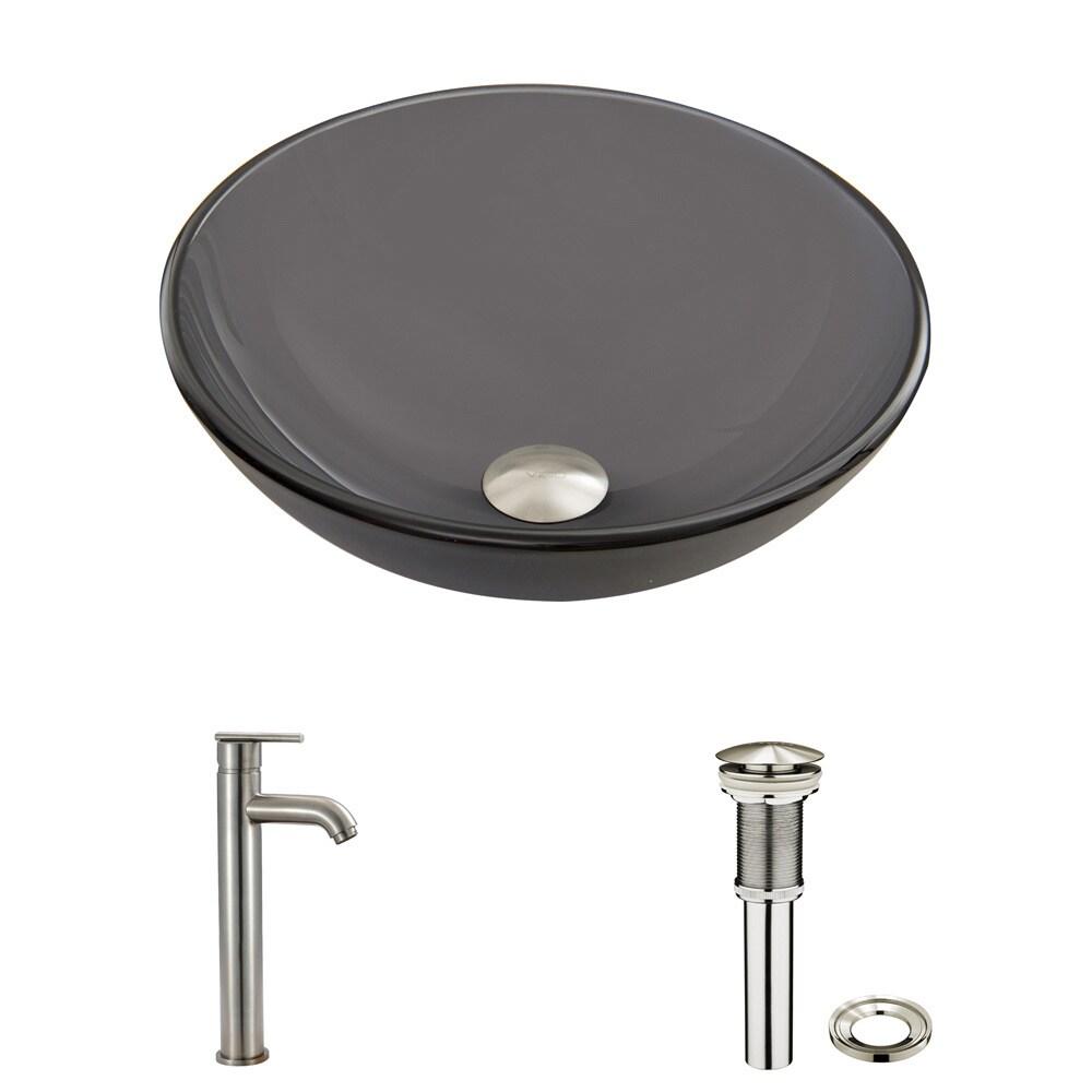 Shop VIGO Sheer Black Frost Glass Vessel Sink and Seville Faucet Set ...