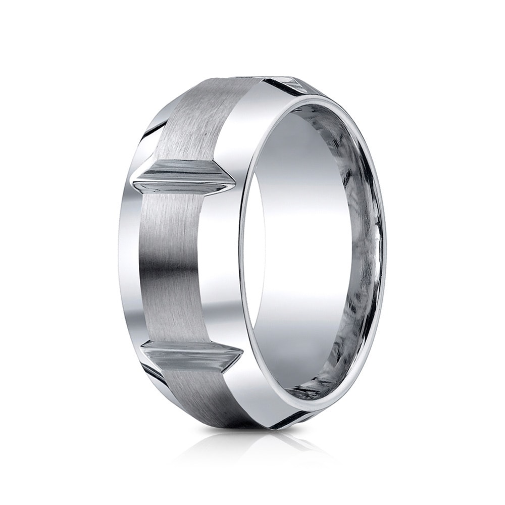 Cobalt Men\'s 10mm Comfort Fit Gear Cut Ring - Free Shipping Today ...