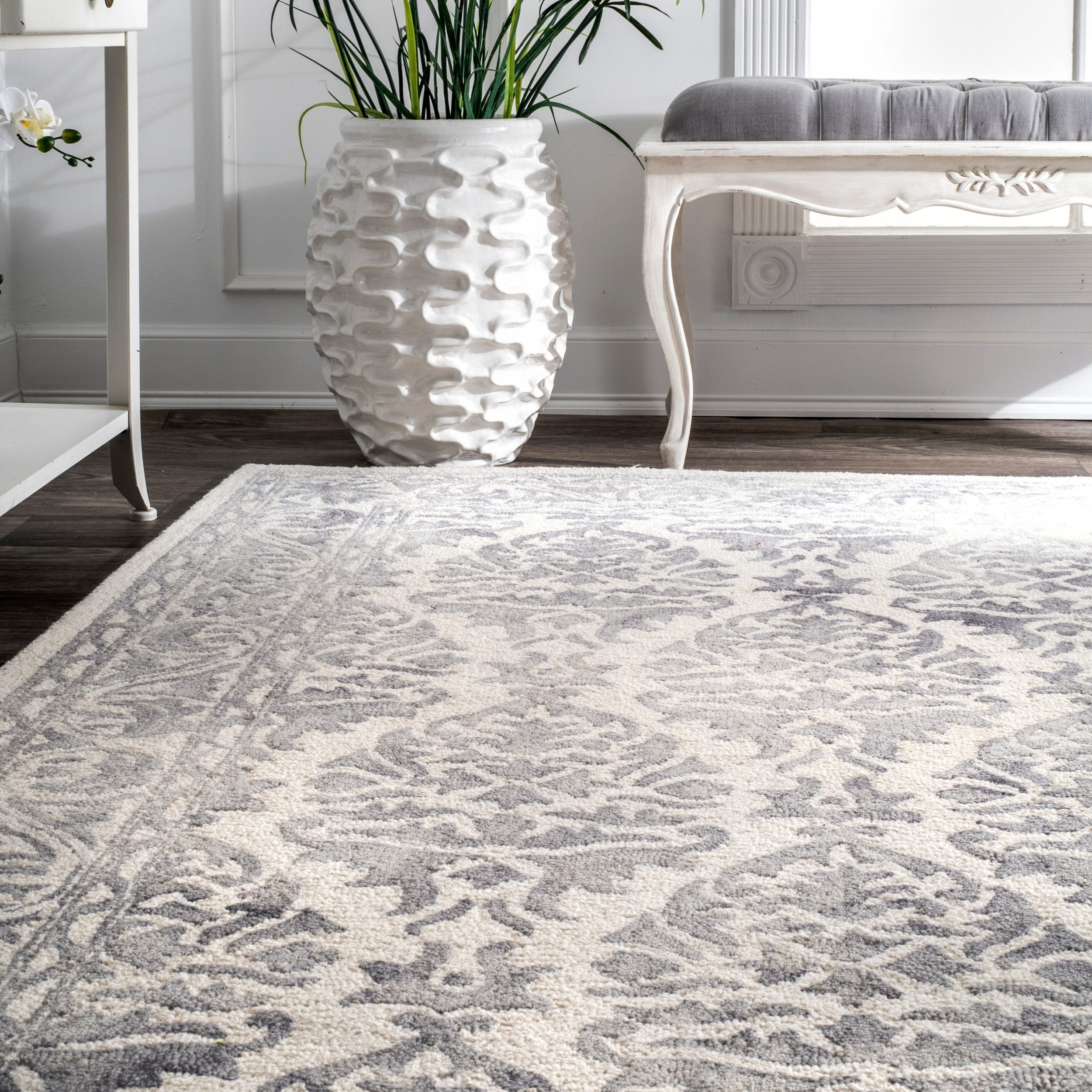 Nuloom Light Grey Handmade Dip Dyed Damask Wool Area Rug 8 6 X 11 On Free Shipping Today 10664246