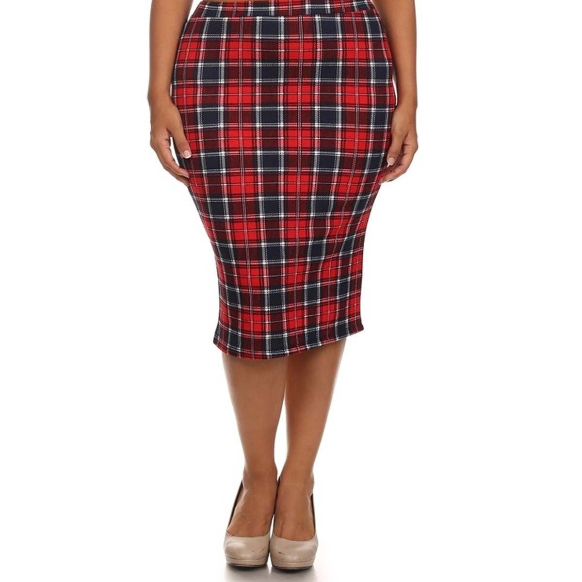 f1c95575a7eb Shop MOA Collection Women's Plus Size High Waisted Plaid Print Skirt - On  Sale - Free Shipping On Orders Over $45 - Overstock - 10664345