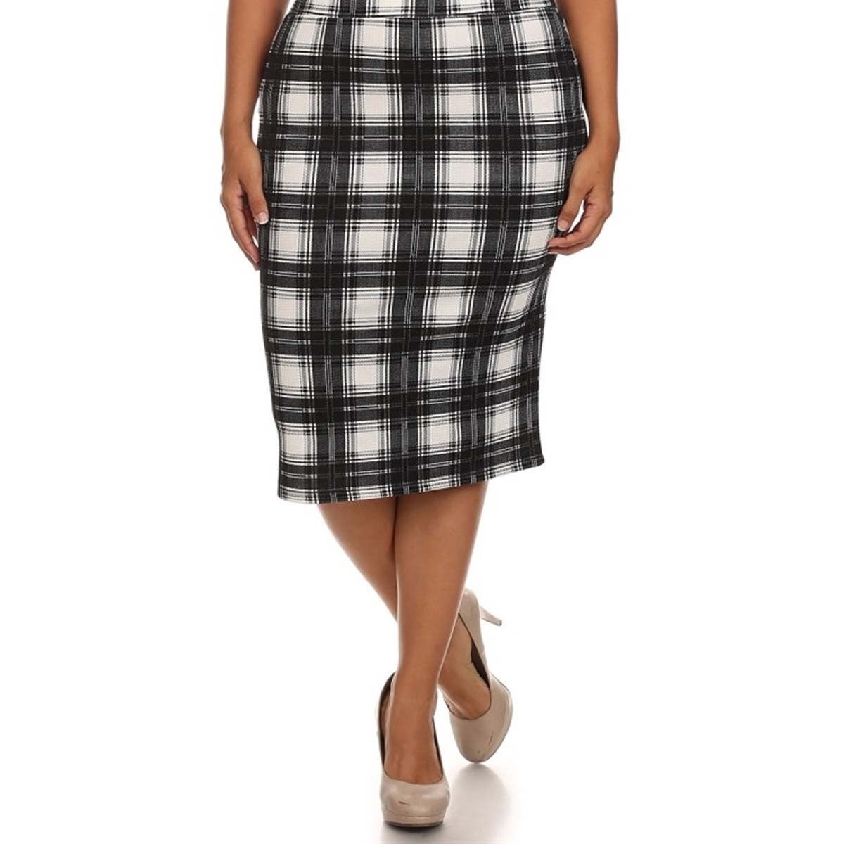 eada369c7d Shop MOA Collection Women's Plus Size High Waisted Plaid Print Skirt ...