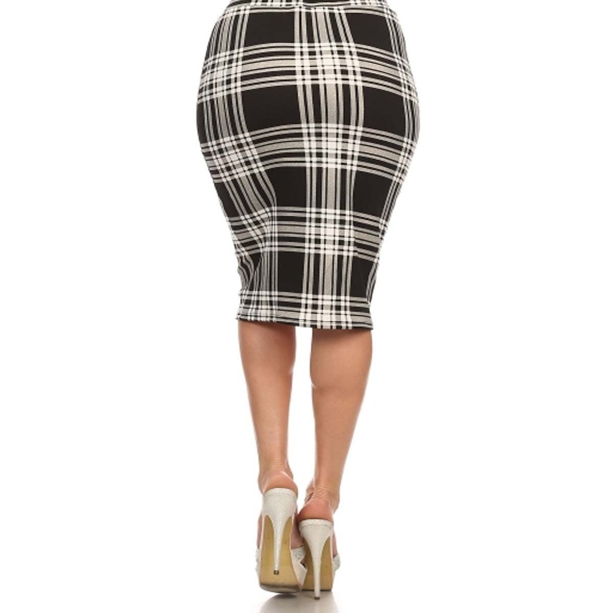 35d3ff6e98a Shop MOA Collection Women s Plus Size High Waisted Plaid Print Skirt ...