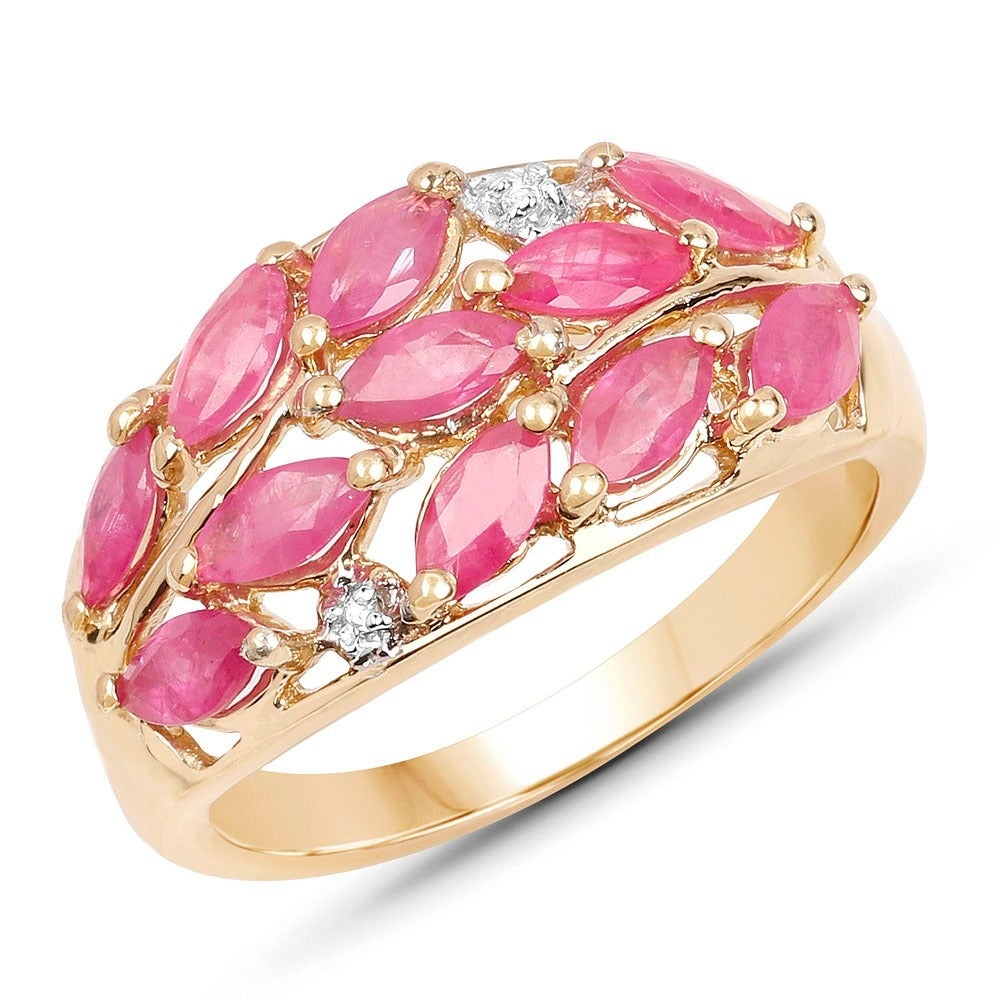Malaika Yellow Goldplated Sterling Silver 1 1/2Ct Ruby And White ...