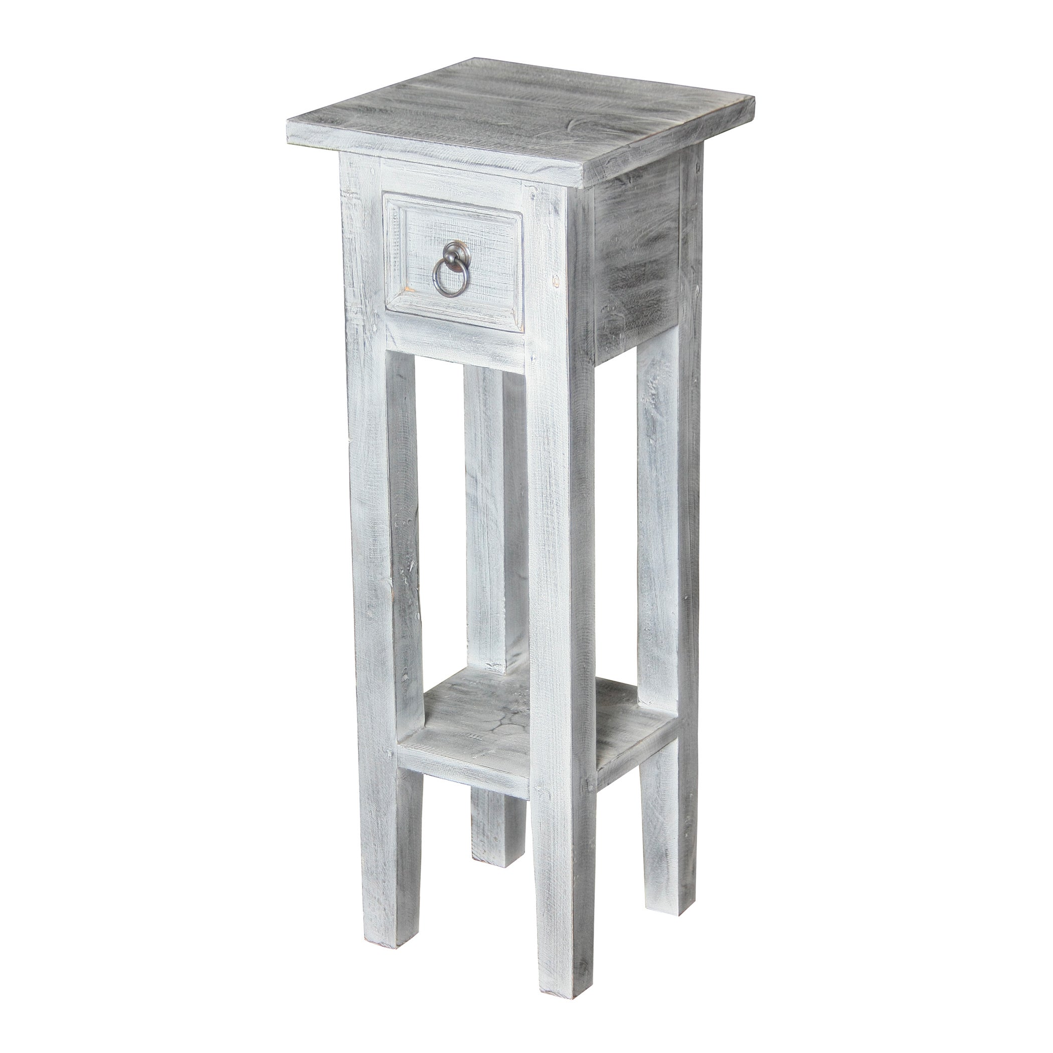 Shutter White Washed End Table Free Shipping Today Overstockcom