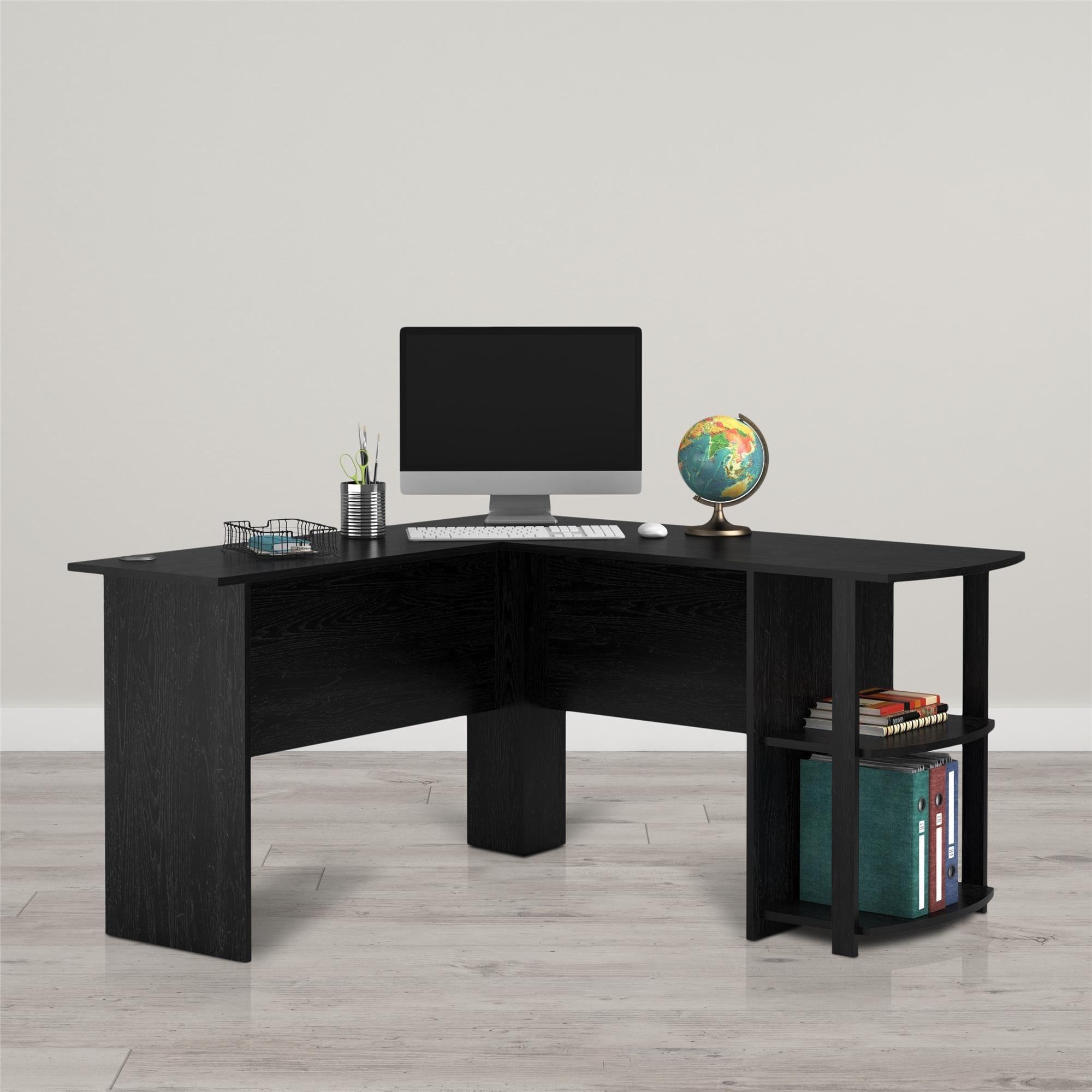 Avenue Greene Abbott Wood L shaped Desk with Bookshelves Free