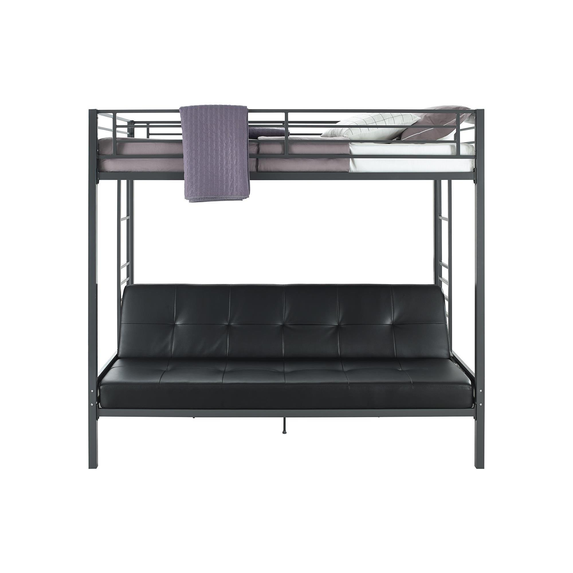 DHP Jasper Gunmetal Premium Twin Over Futon Bunk Bed with Black