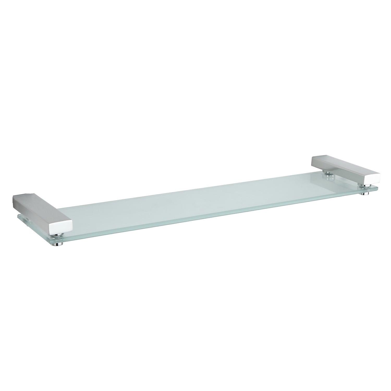Shop Cortesi Home Contemporary Stainless Steel Glass Vanity Shelf ...
