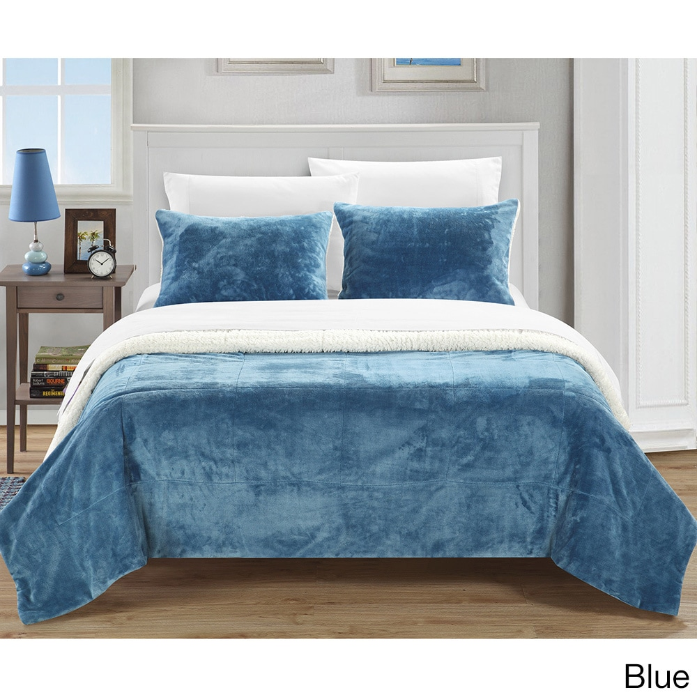 Chic Home Evie 15-piece Plush Sherpa Blanket with Pillow Shams ...