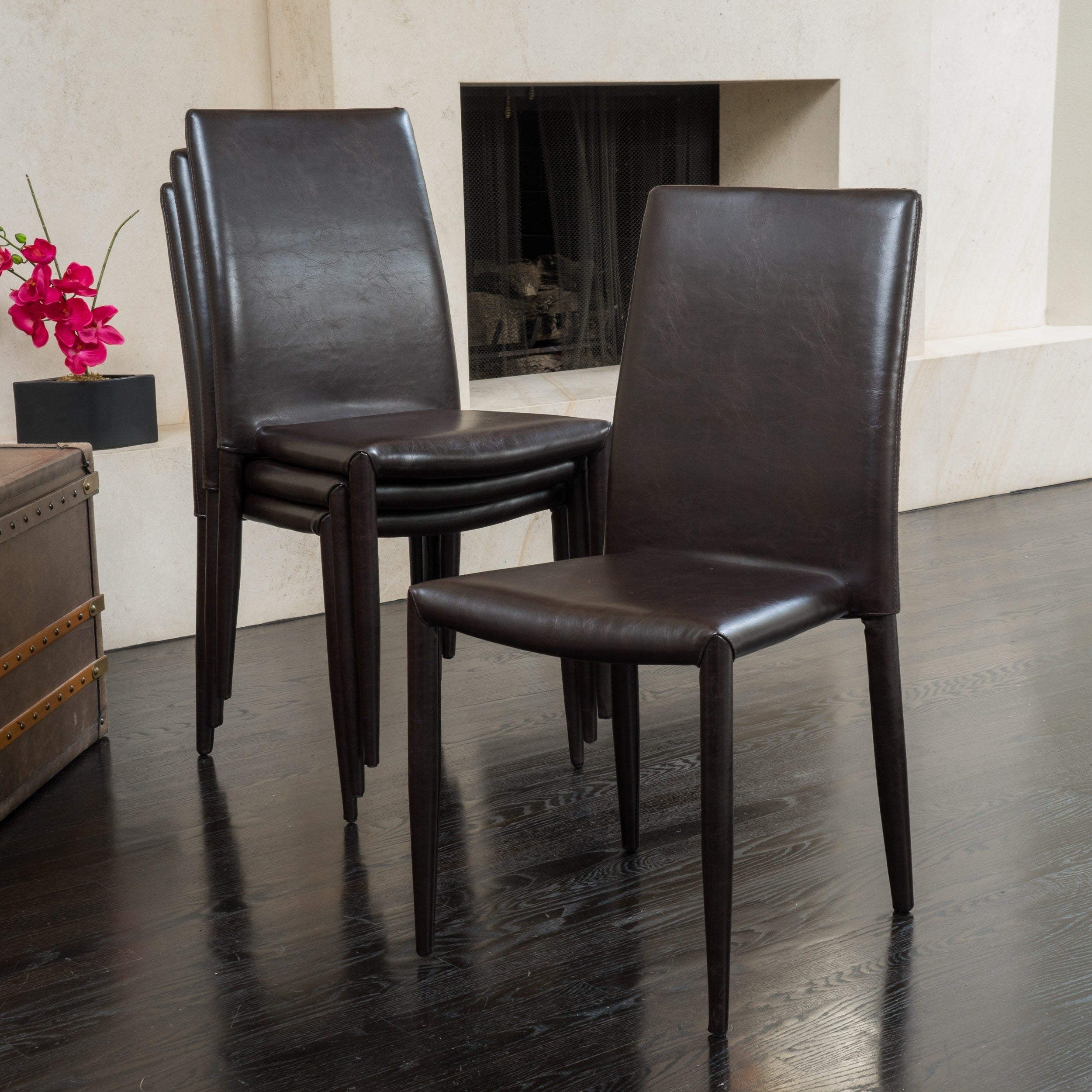 Comstock Bonded Leather Stackable Dining Chair (Set of 4) by ...