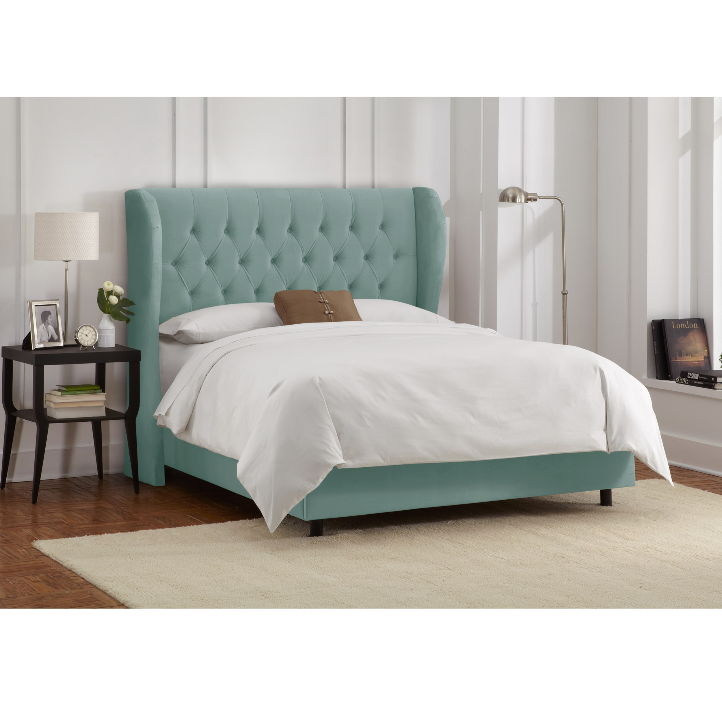 caribbean furniture. Skyline Furniture Tufted Wingback Bed In Velvet Caribbean - Free Shipping Today Overstock 17734707 E