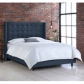 Nail Button Tufted Wingback Bed in Linen Navy- Skyline Furniture